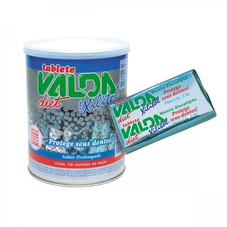 Tablete Goma de Mascar Sabor Mentol Diet com 100 Un. de 3,5g - Valda