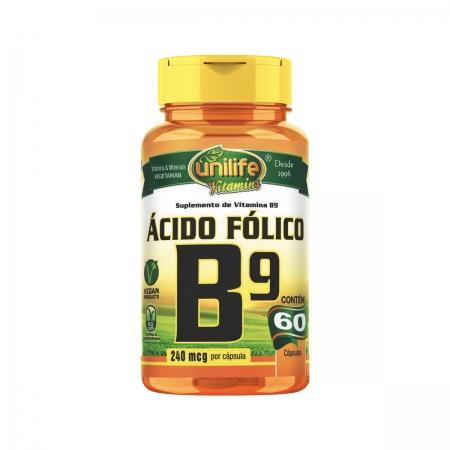 Vitamina B9 500mg 60 Cápsulas - Unilife