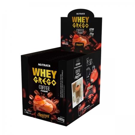 Whey Grego Coffee Cream sabor Caramel Display 12 Sachês de 40g - Nutrata