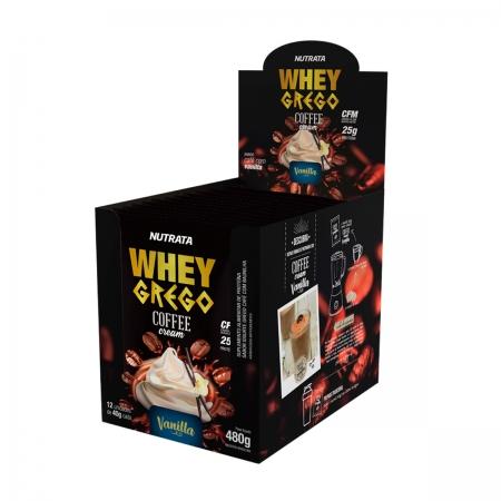Whey Grego Coffee Cream sabor Vanilla Display 12 Sachês de 40g - Nutrata
