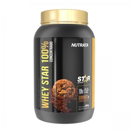 Whey Star 100% sabor Cookies e Chocolate 900g - Nutrata