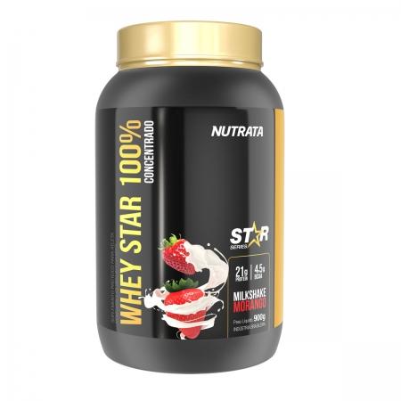 Whey Star 100% sabor Milkshake Morango 900g - Nutrata
