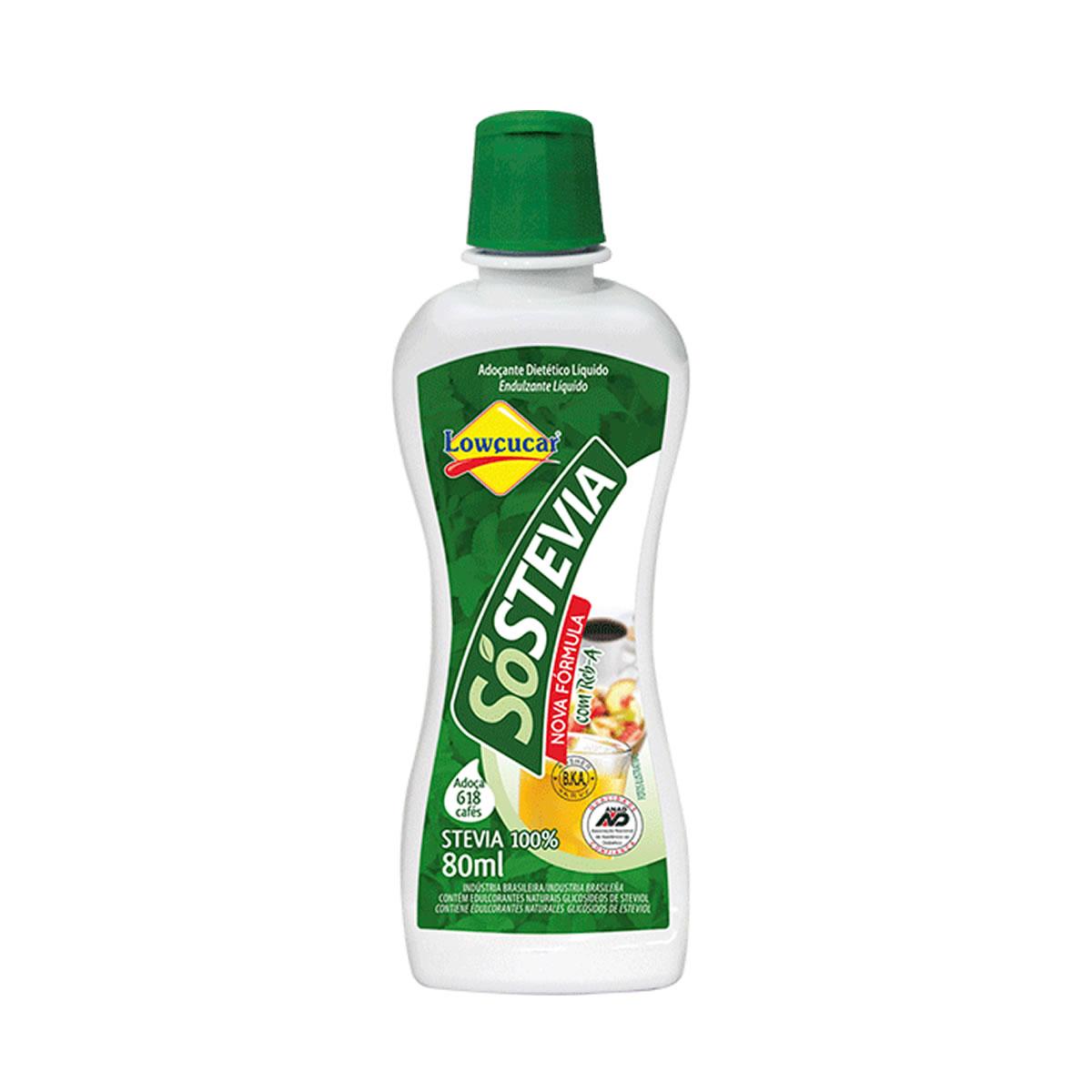 Adoçante 100% Stevia Liquido SóStevia 80ml - Lowçucar