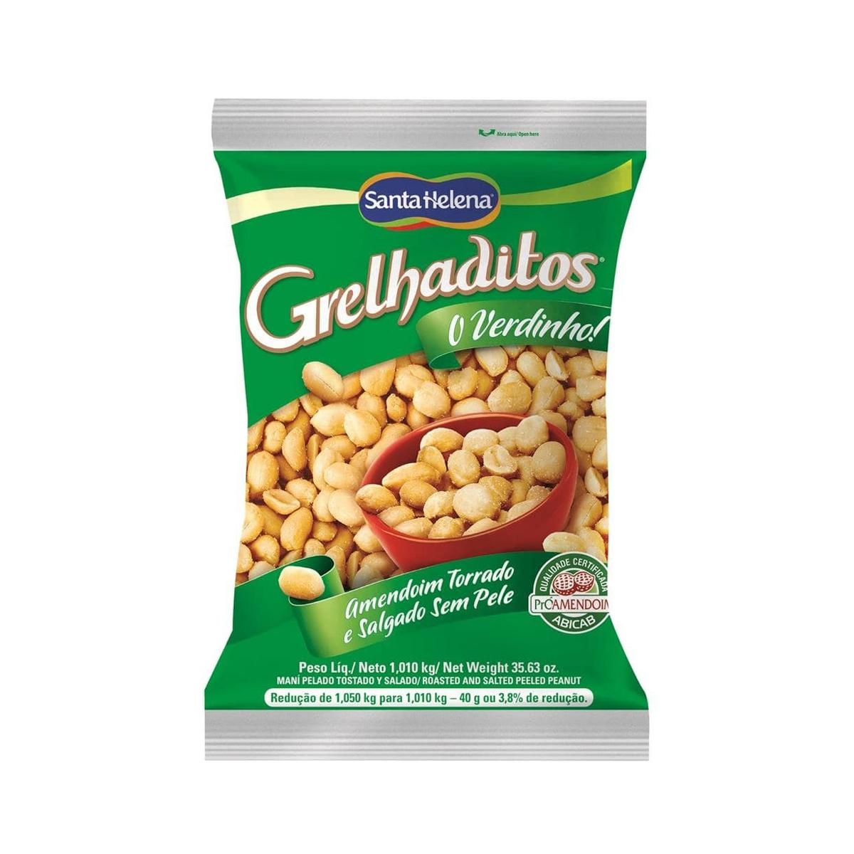 Amendoim Torrado e Salgado Sem Pele Grelhaditos 1,01kg - Santa Helena