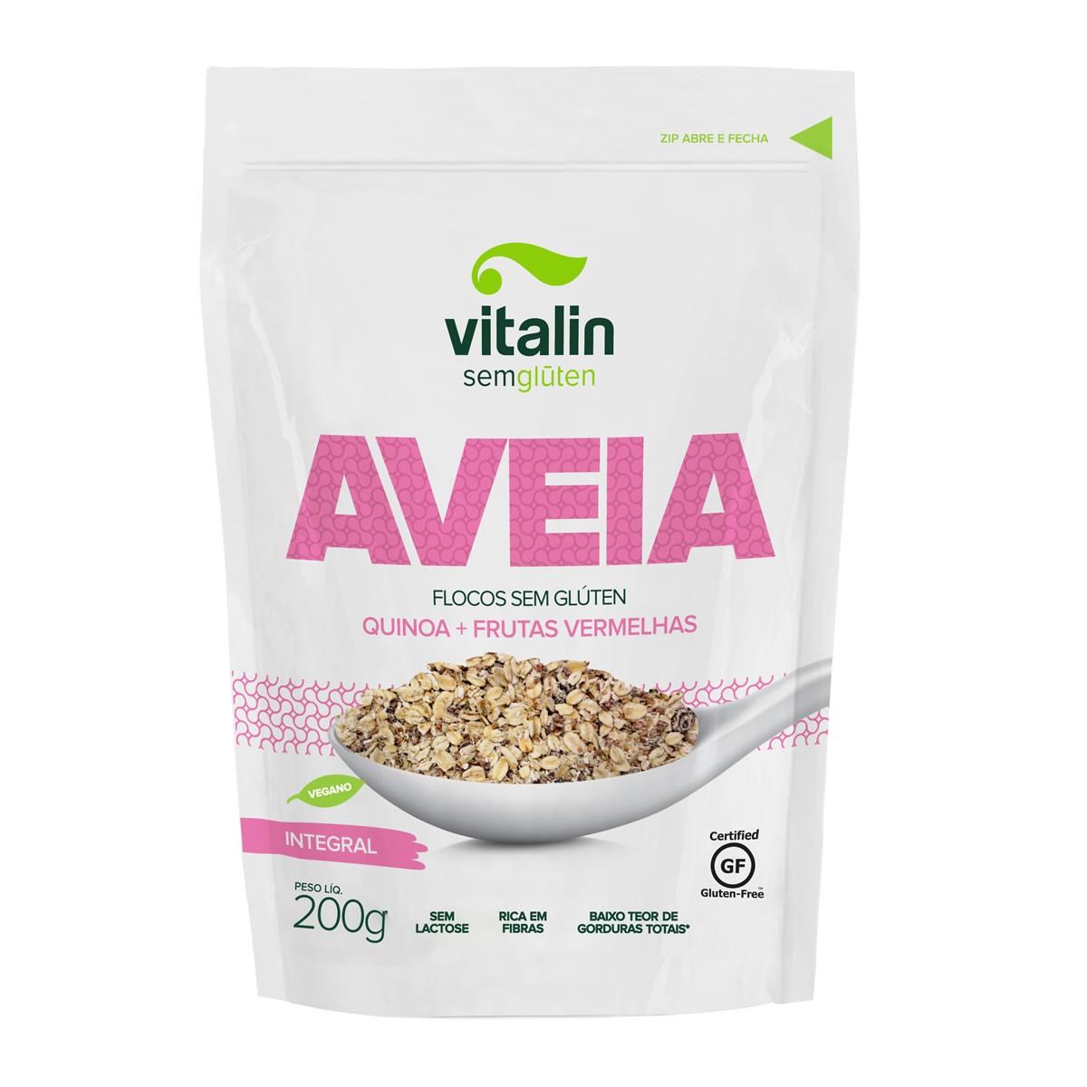 Aveia em Flocos com Quinoa e Frutas Vermelhas 200g - Vitalin