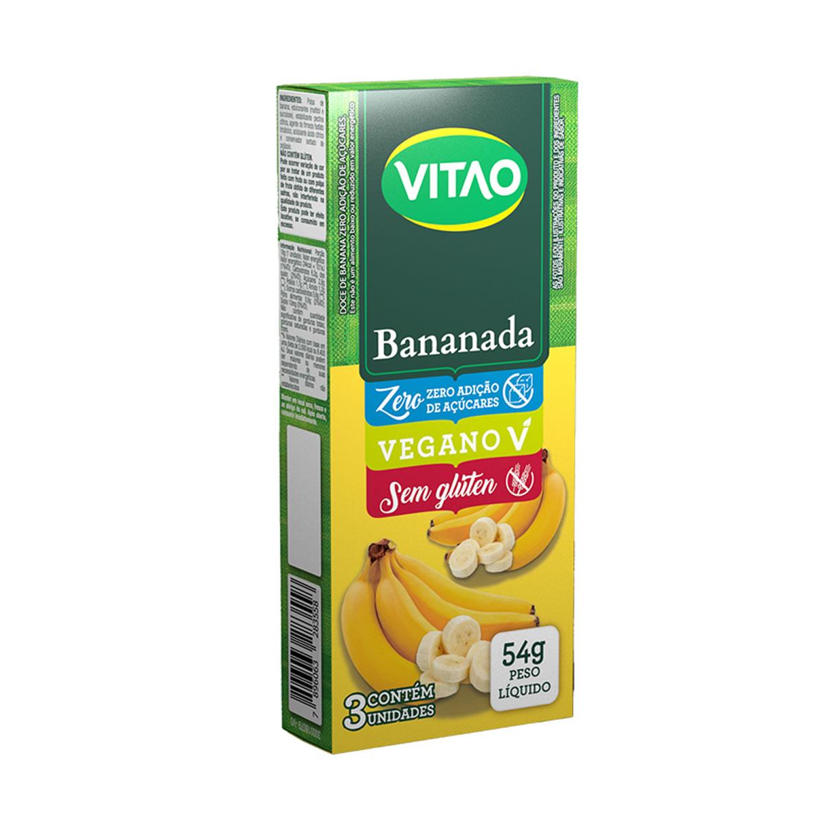 Bananada Zero display com 3 unidades de 18g - Vitao
