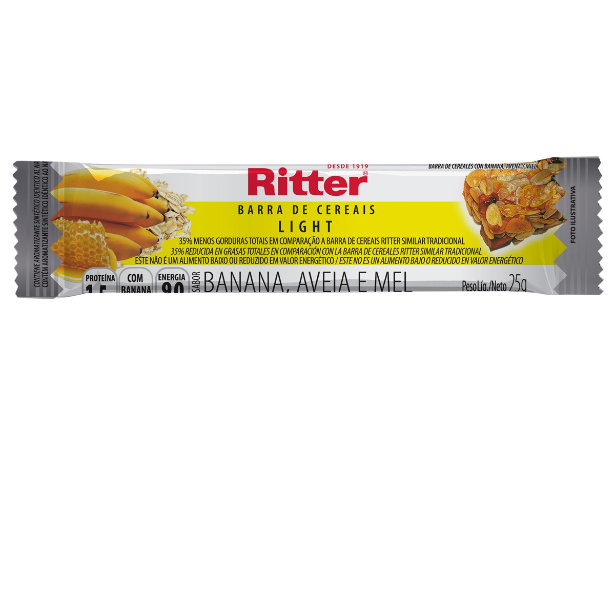 Barra de Cereal Light de Banana 25g - Ritter