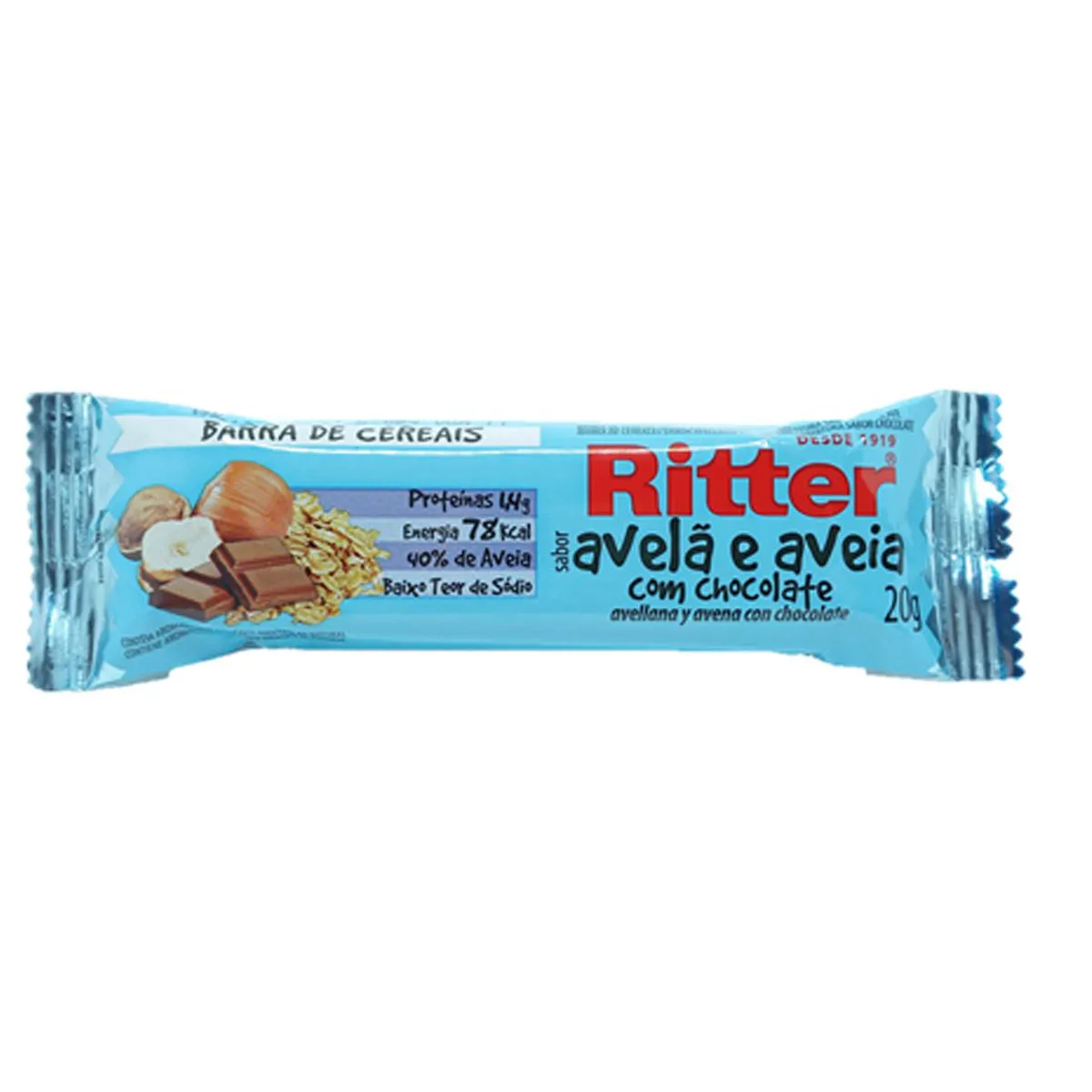 Barra de Cereal Mix Avelã, Aveia e Chocolate 20g - Ritter