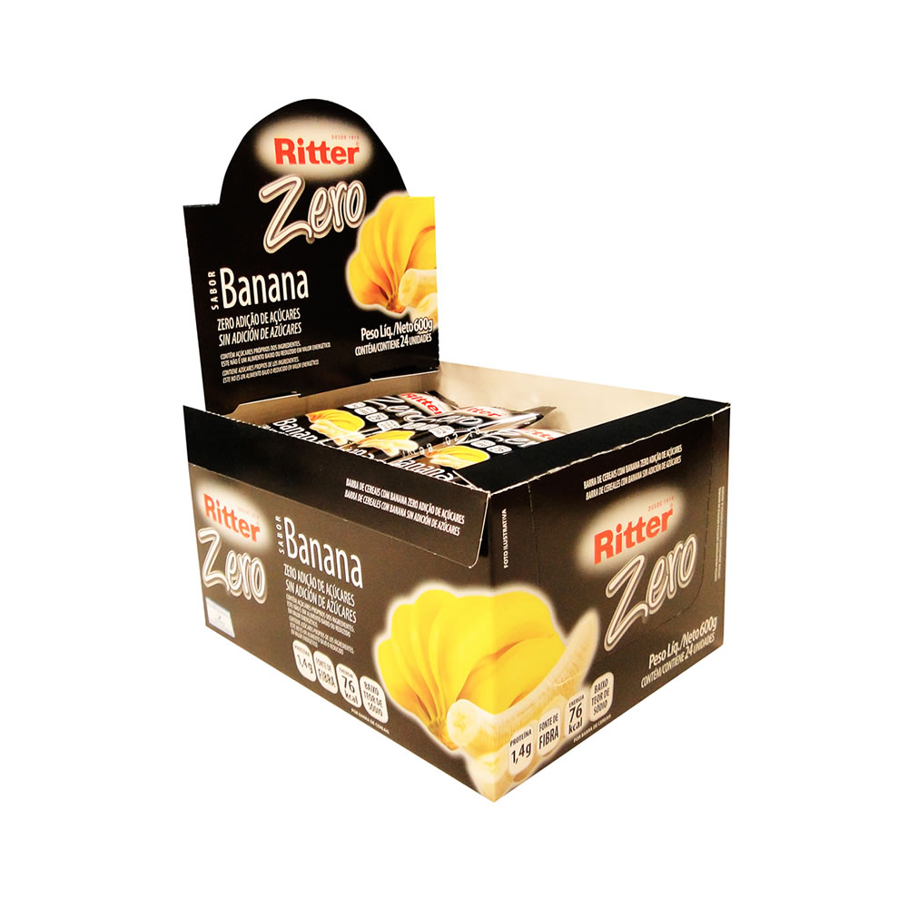 Barra de Cereal Zero de Banana display com 24 un - Ritter