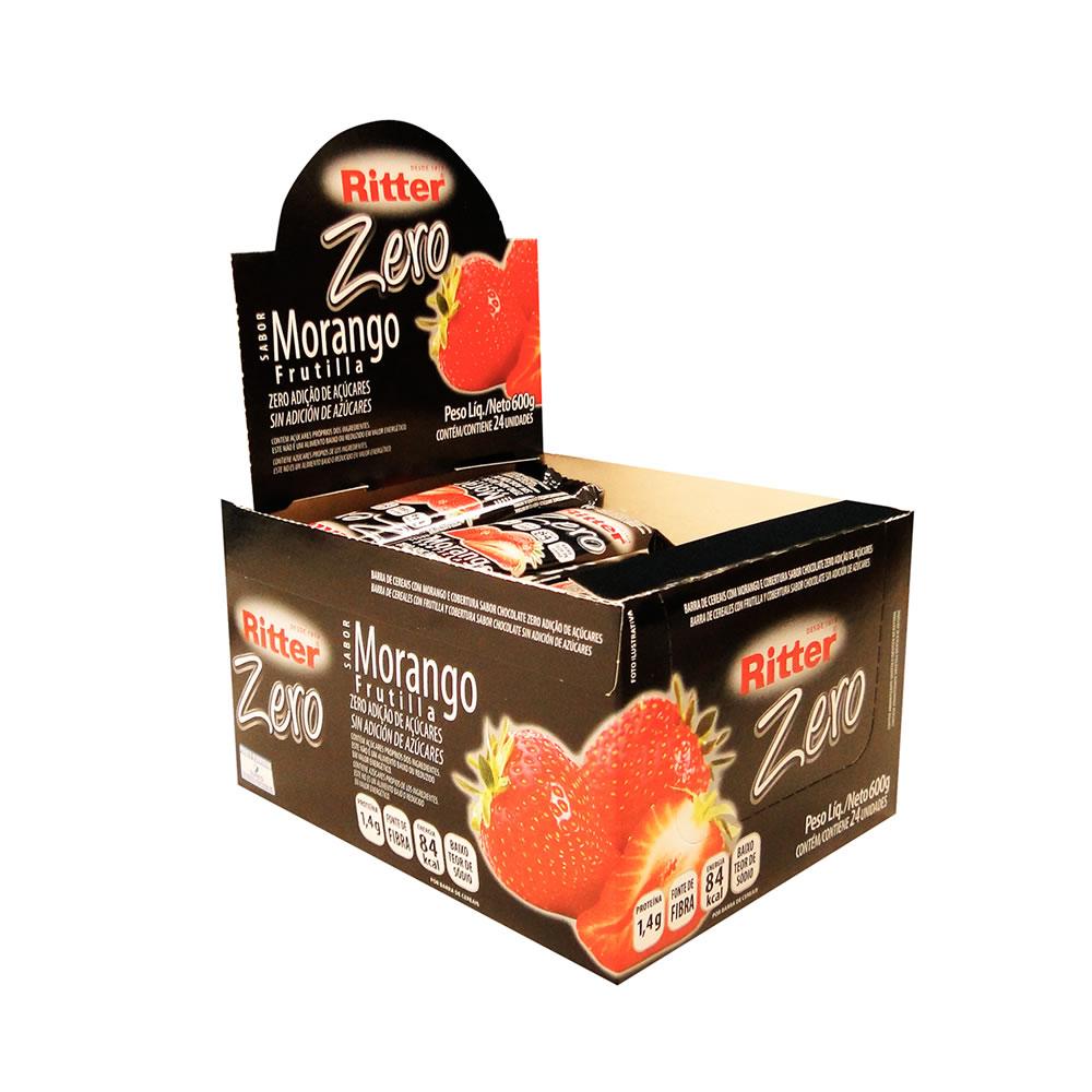 Barra de Cereal Zero Morango com Chocolate display com 24 un - Ritter