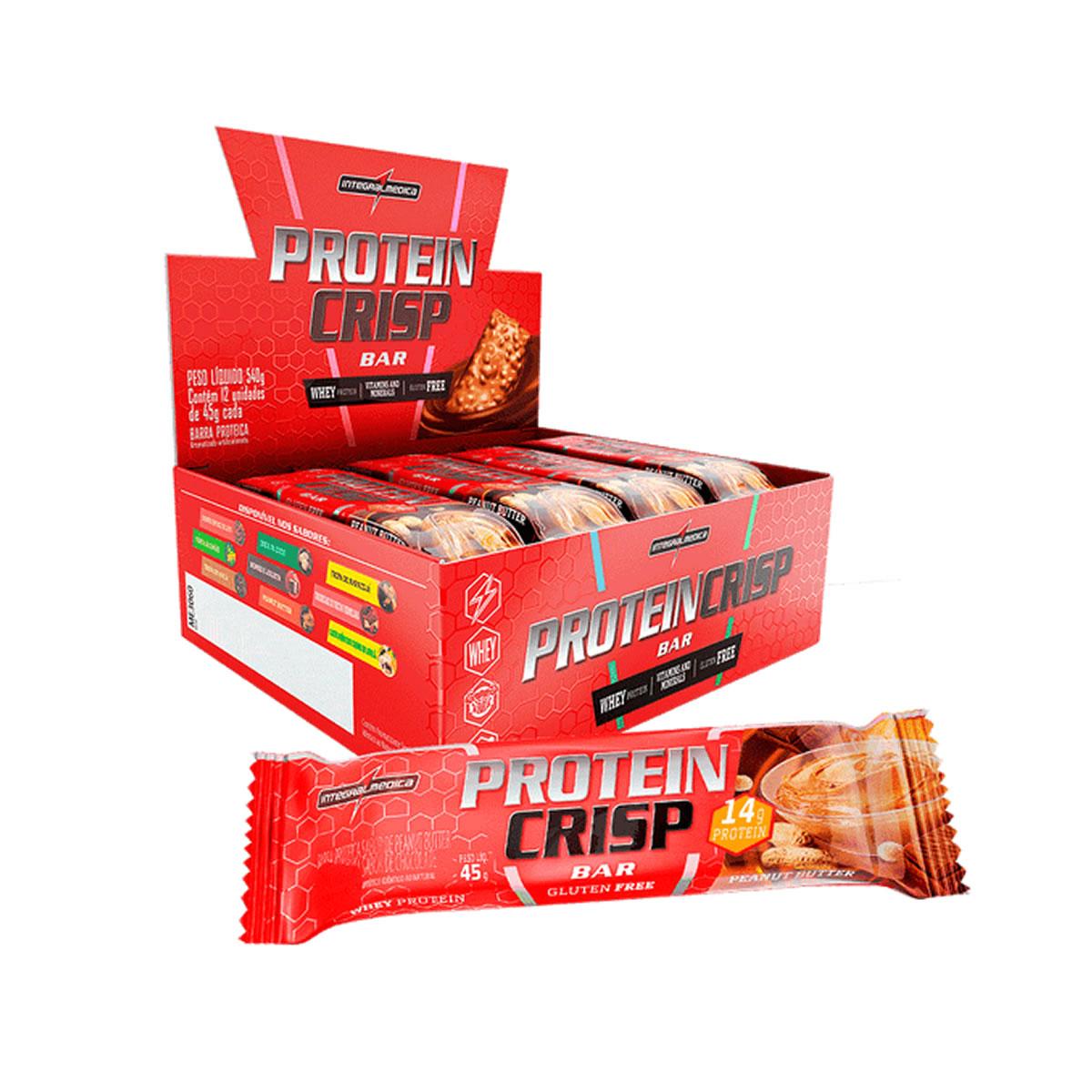Barra de Proteína CrispBar Sabor Peanut Butter Display 12un de 45g - IntegralMedica