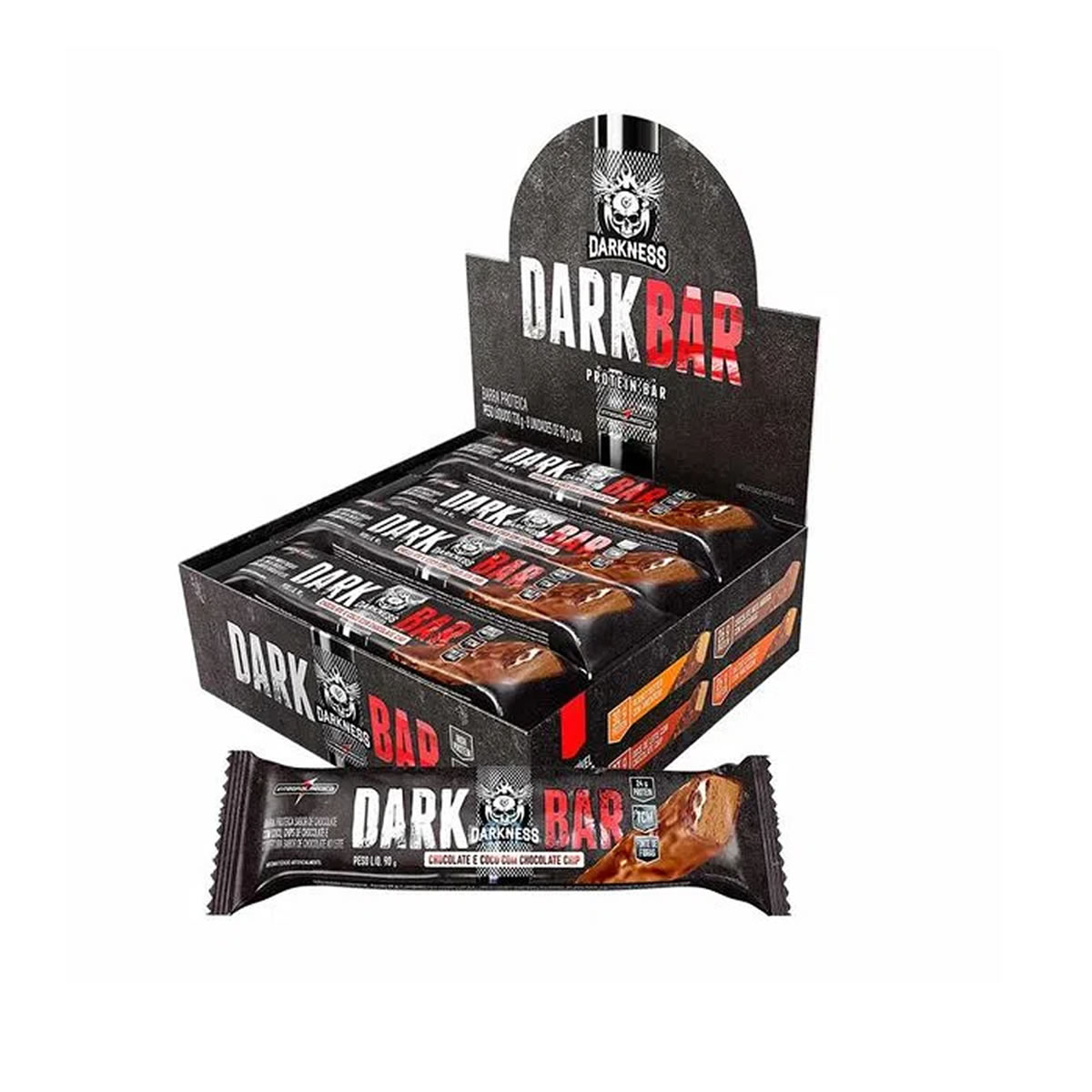 Barra de Proteína DarkBar Sabor Coco com Chocolate Display com 8un de 90g - Darkness