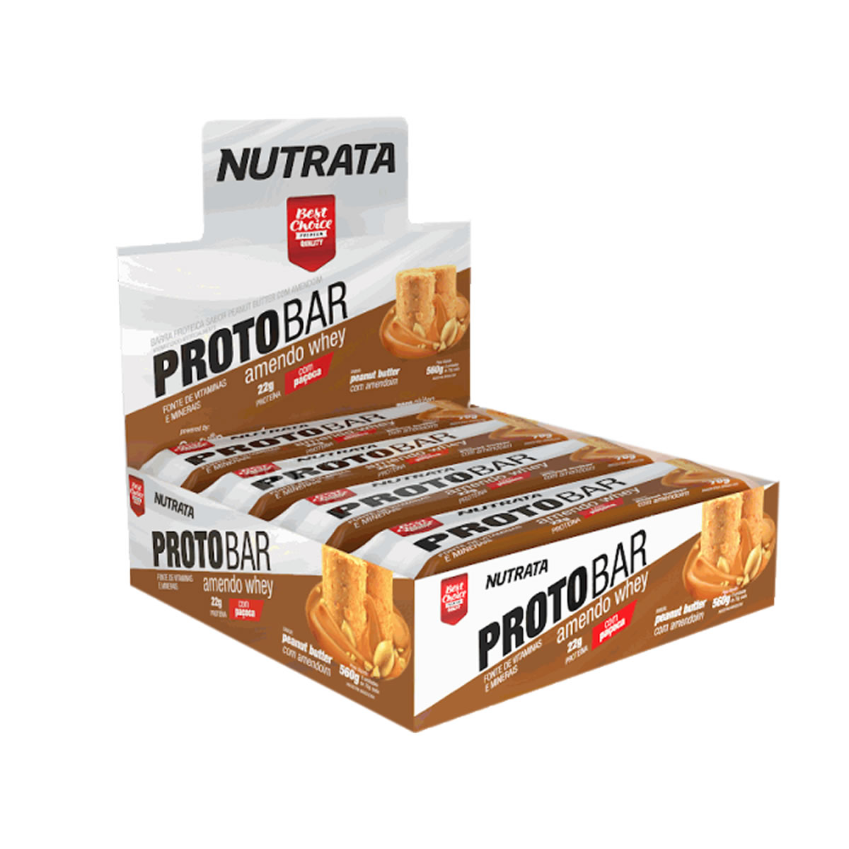 Barra de Proteína sabor Amendo Whey Display com 8 un de 70g - Nutrata