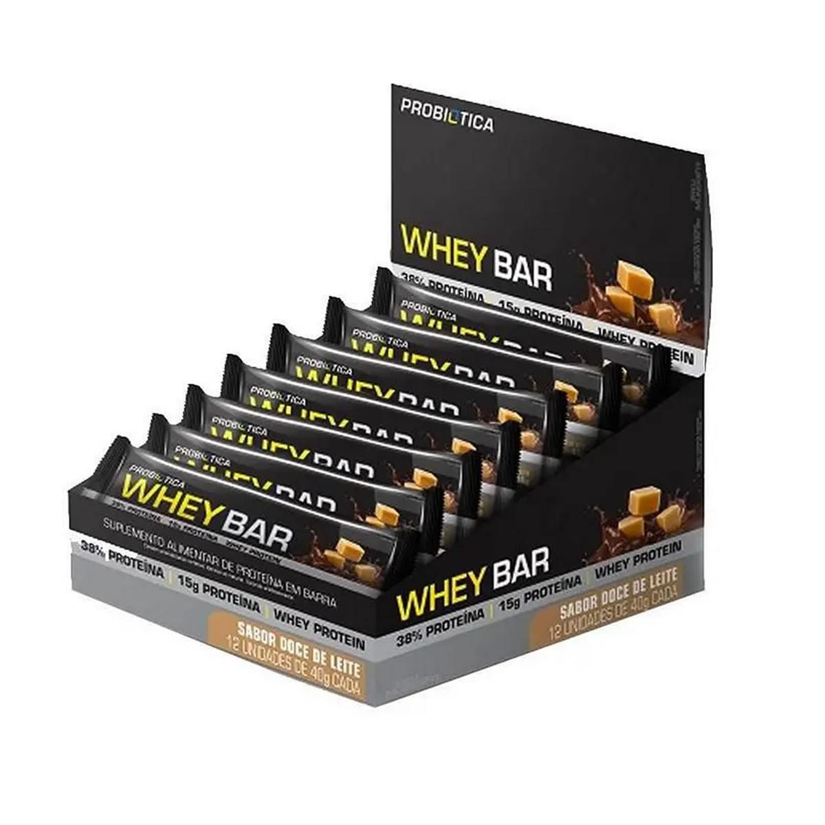 Barra de Proteína Whey Bar Sabor Doce de Leite Display com 12un de 40g - Probiotica
