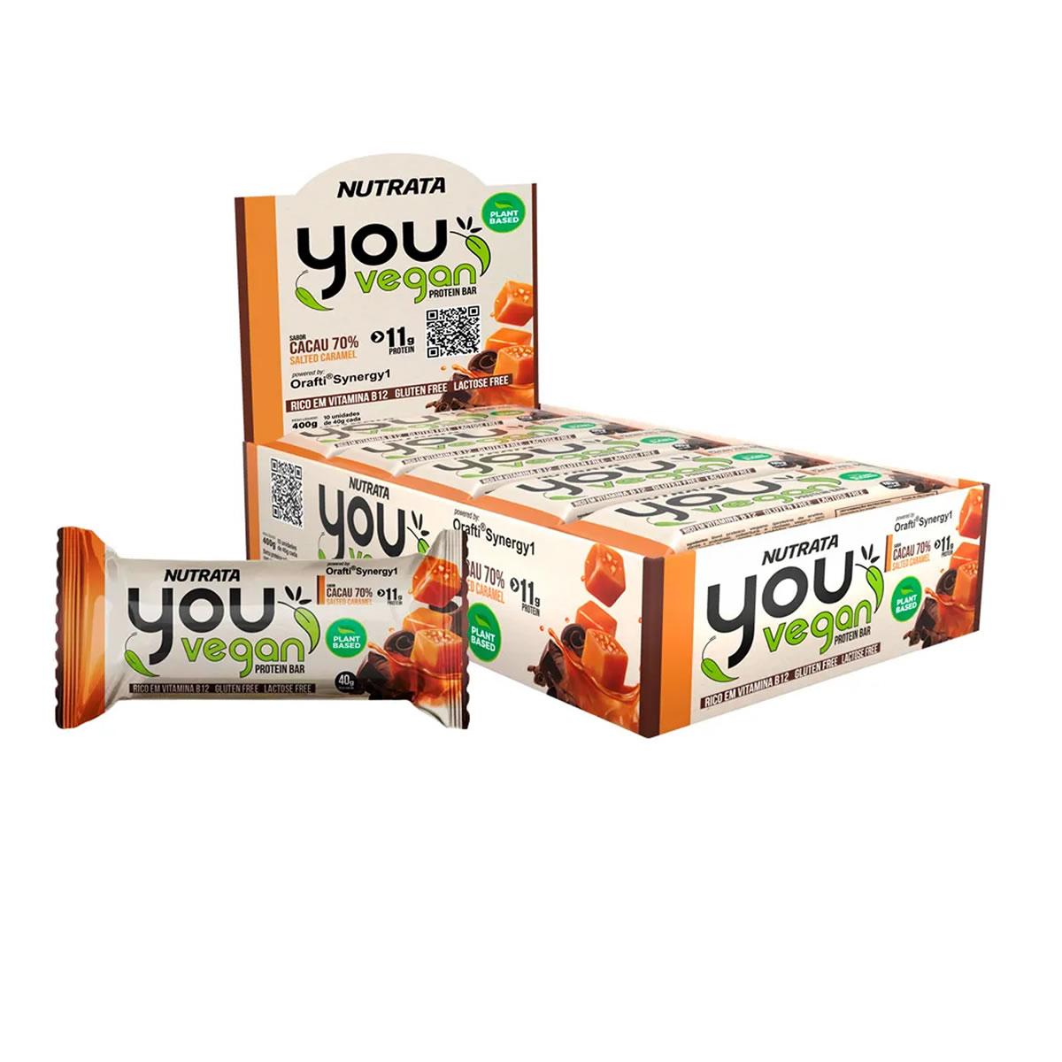 Barra Proteica You Vegan Sabor Cacau com Caramelo Display 10un de 40g - Nutrata