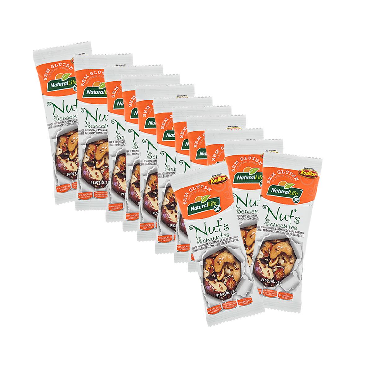 Barrinha de Nuts com Sementes Sem Glúten Display com 12 un de 25g - NaturalLife