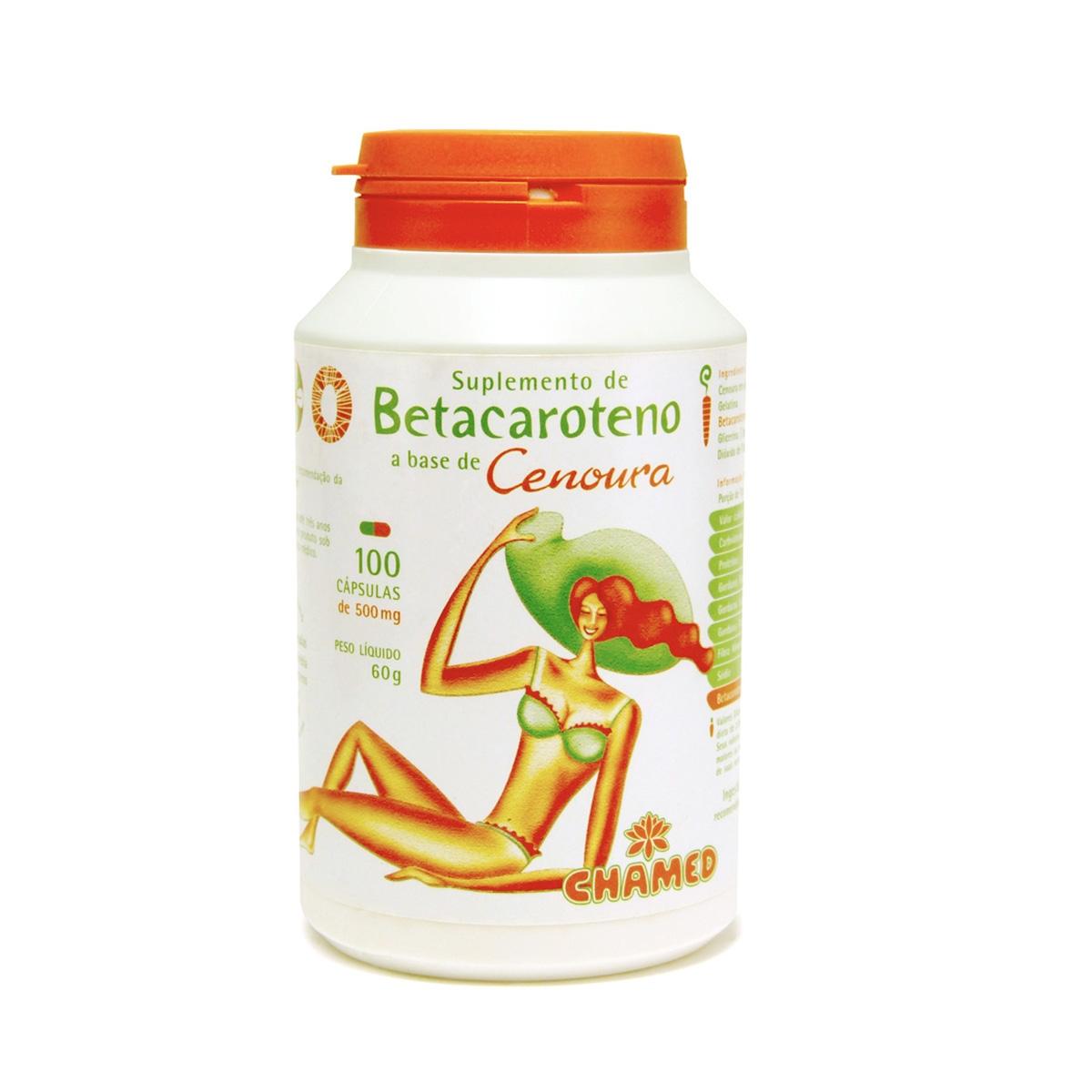 Betacaroteno e Cenoura 500mg 100 Cápsulas - Chamel
