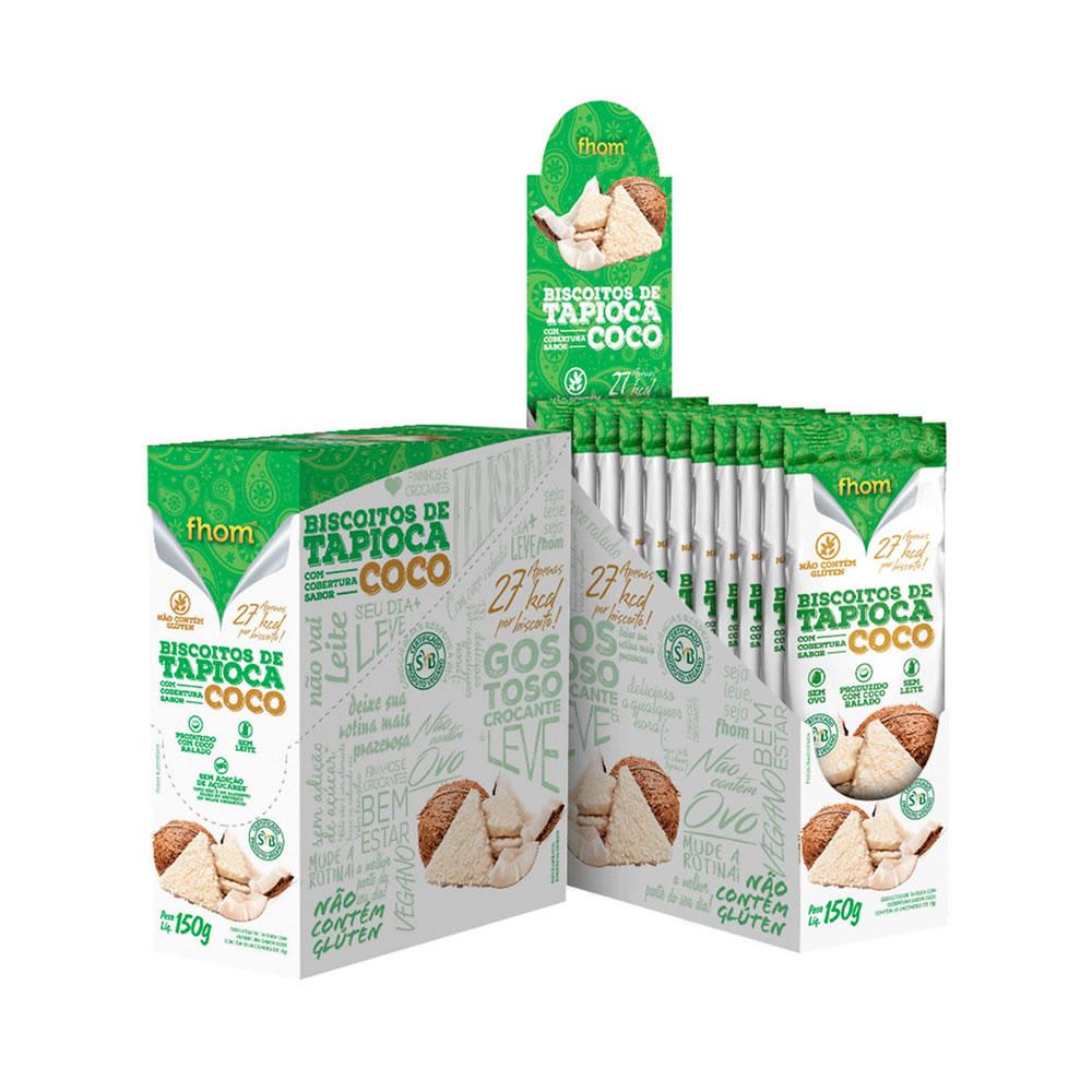 Biscoito de Tapioca com Cobertura de Coco Display 10x15g - Fhom