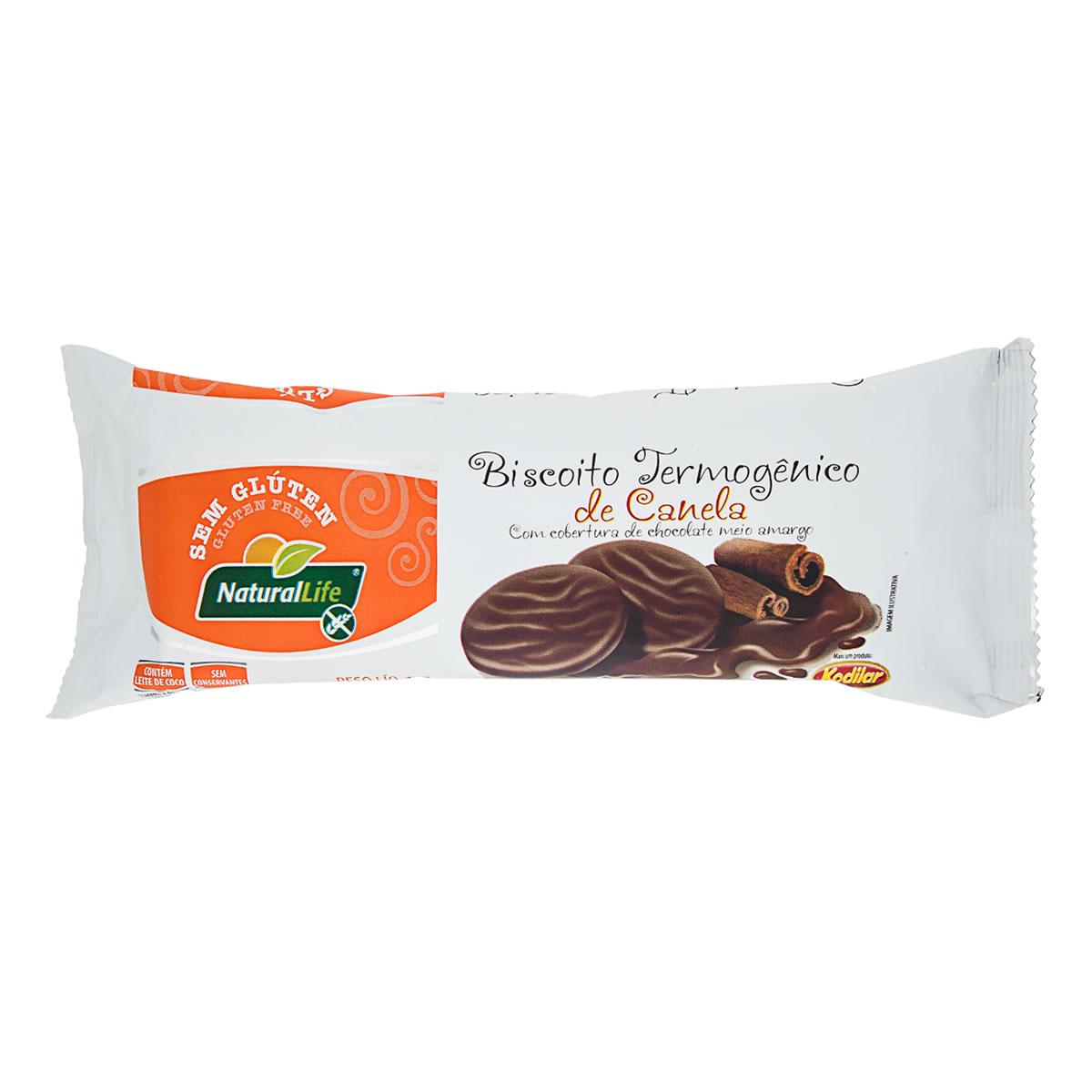 Biscoito Termogênico Sabor Canela Coberto com Chocolate Meio Amargo Sem Glúten 140g - NaturalLife