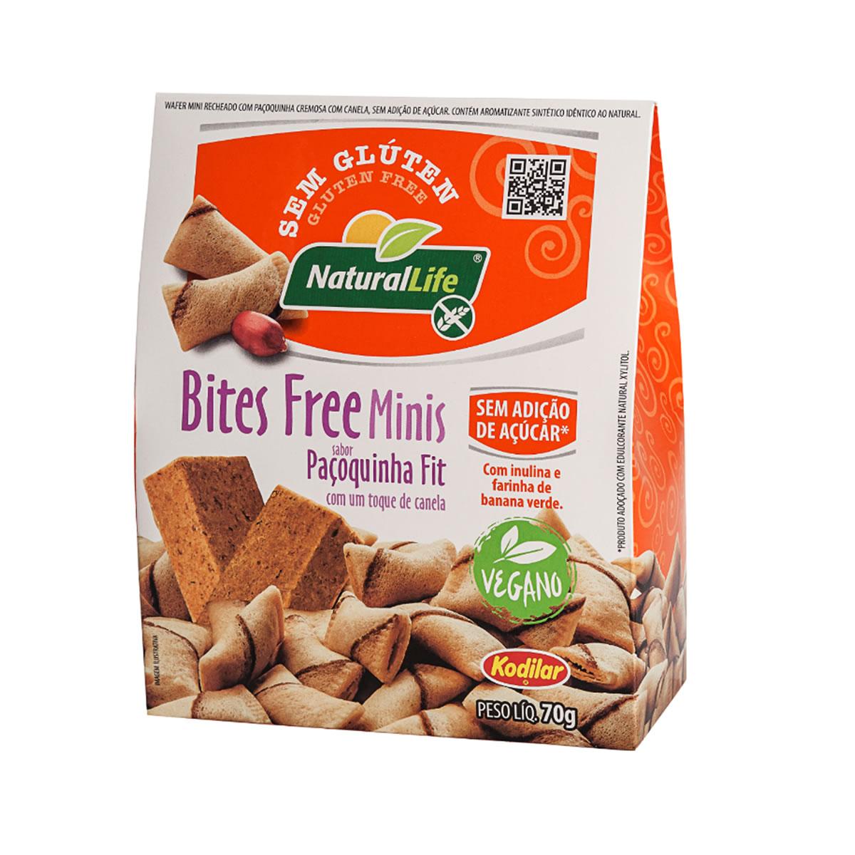 Bites Free Minis Sabor Paçoquinha Fit Sem Glúten Vegano 70g - NaturalLife