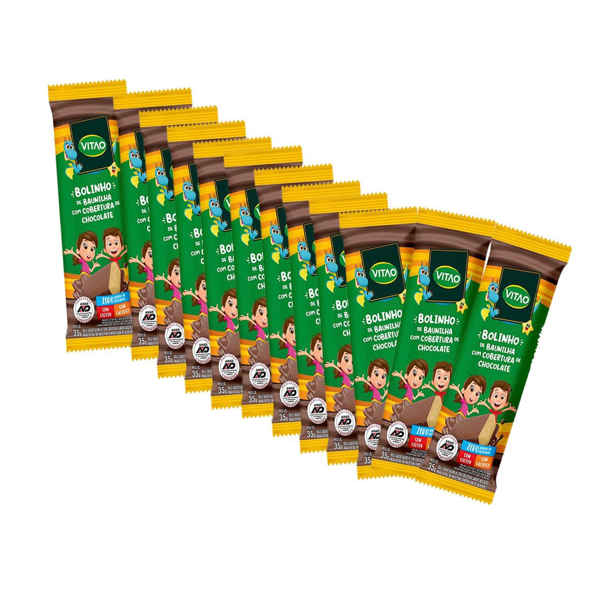 Bolinho de Baunilha com Cobertura de Chocolate Sem Glúten Display com 12 un de 35g  Kids  - Vitao