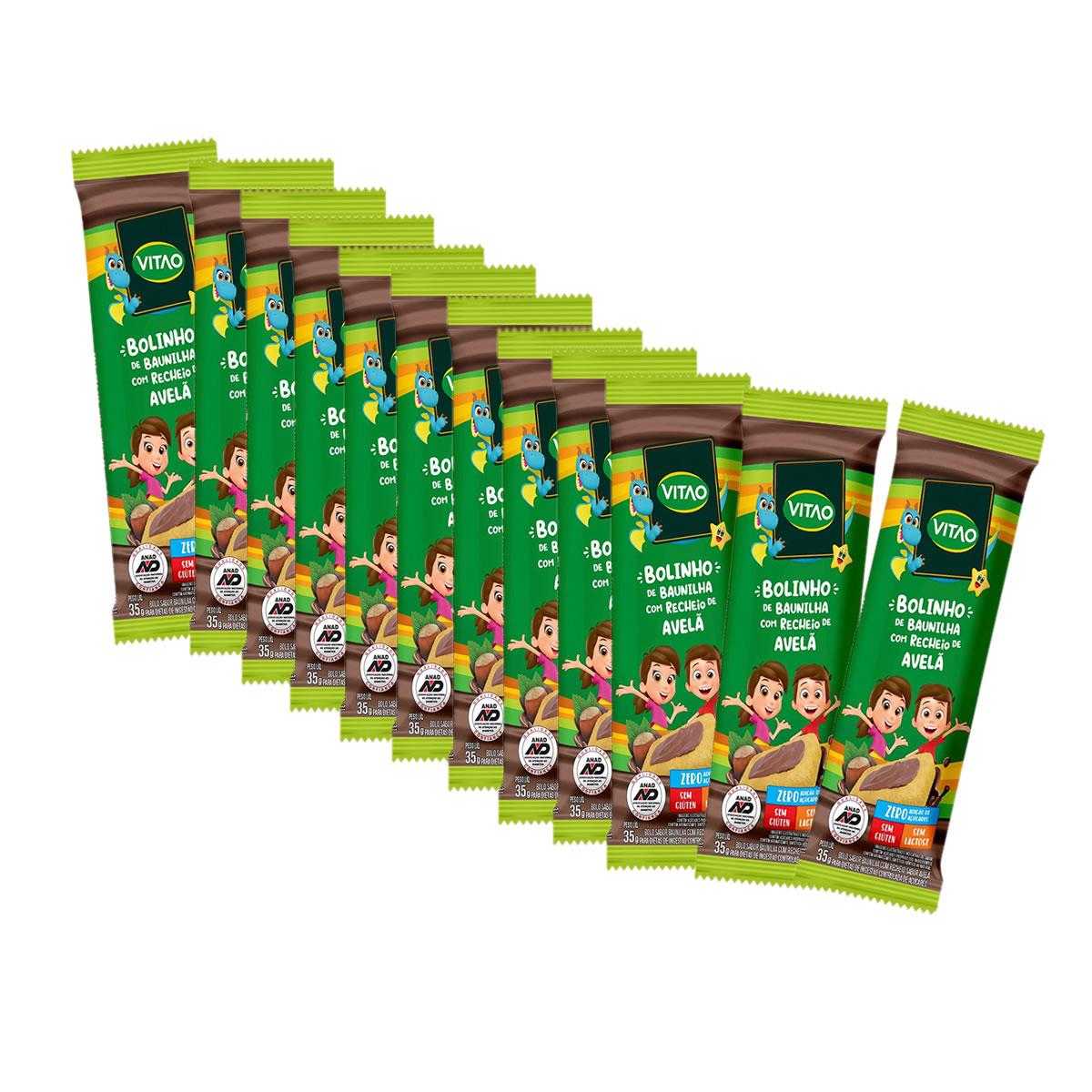 Bolinho de Baunilha com Recheio de Avelã Sem Glúten Display com 12 un de 35g Kids - Vitao