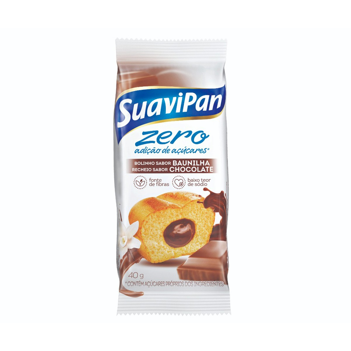 Bolinho de Baunilha Recheio de Chocolate Zero 40g - Suavipan