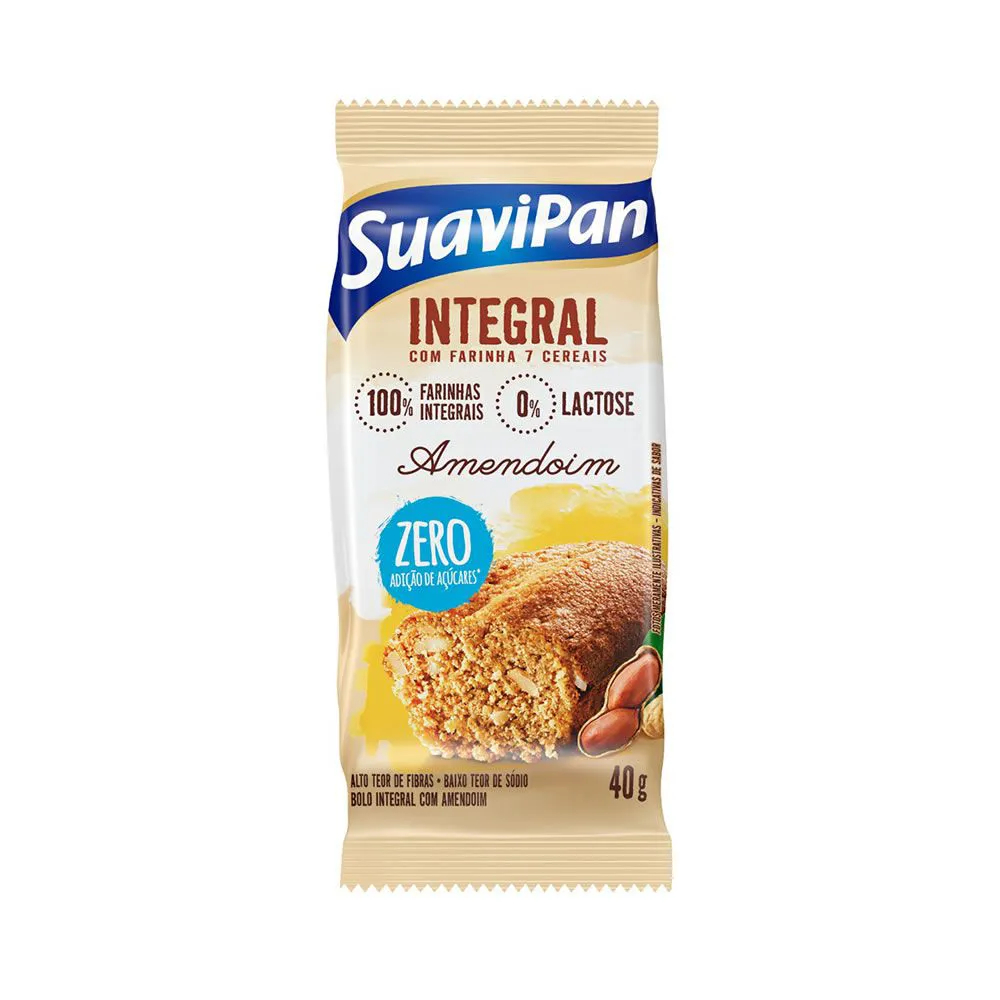 Bolinho Integral com Amendoim Zero 40g - Suavipan