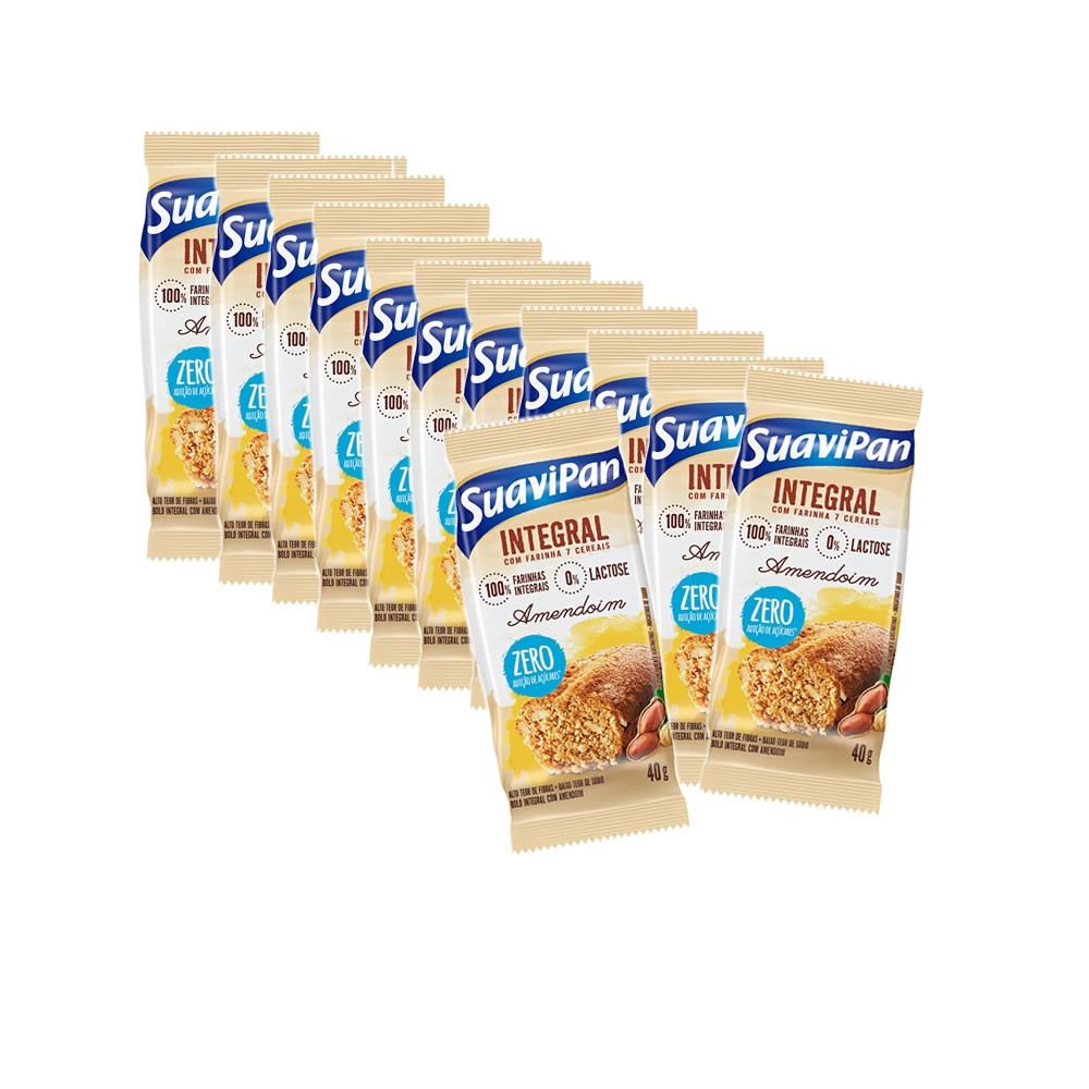Bolinho Integral com Amendoim Zero com 12 un de 40g - Suavipan