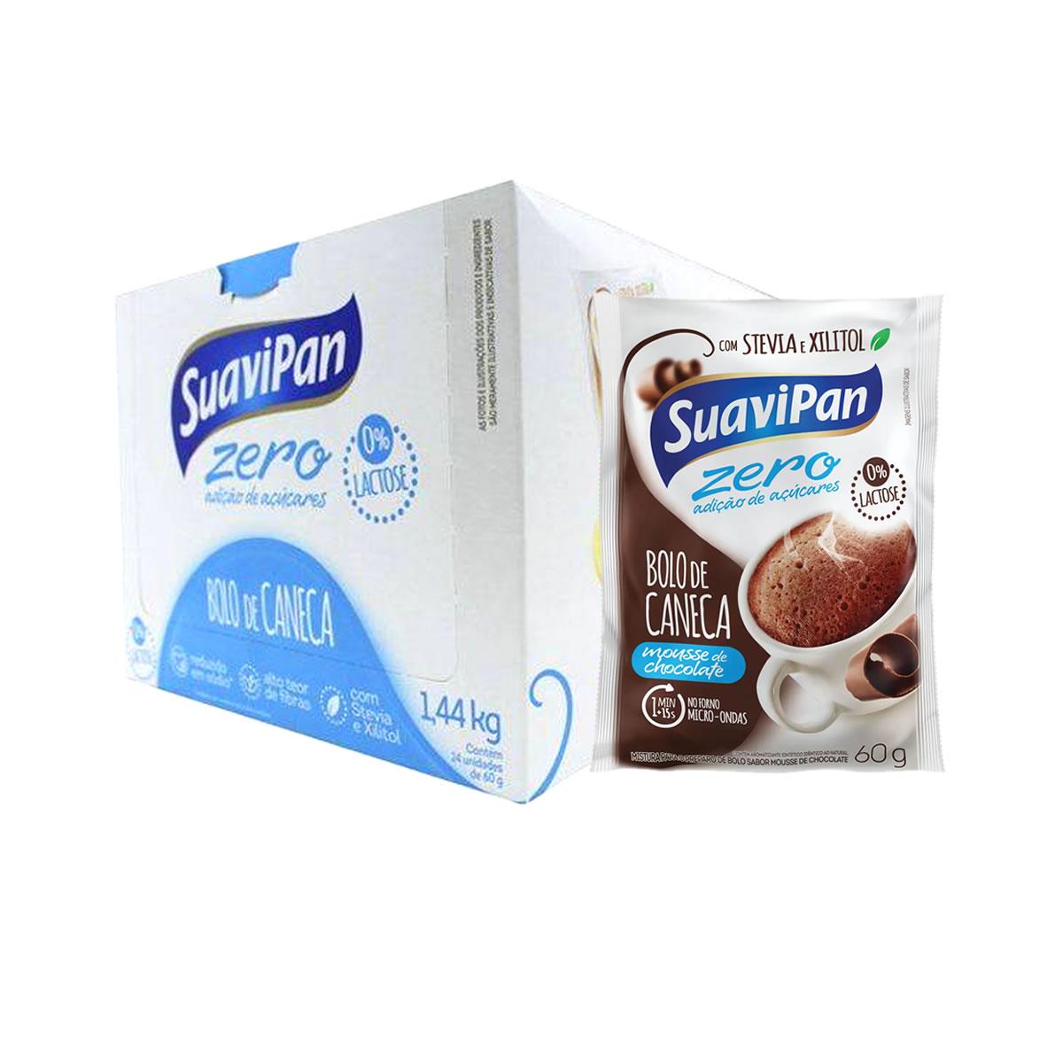 Bolo de Caneca Zero Açúcar Sabor Mouse Chocolate Display 24un de 60g - Suavipan