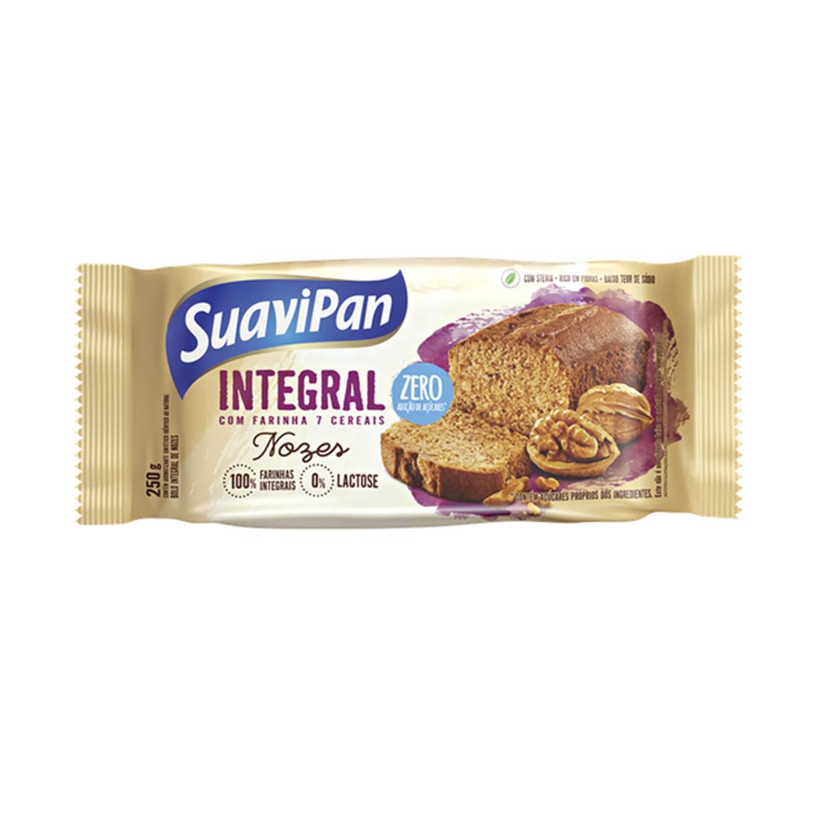 Bolo Integral Zero Açúcar Sabor Nozes 250g - Suavipan