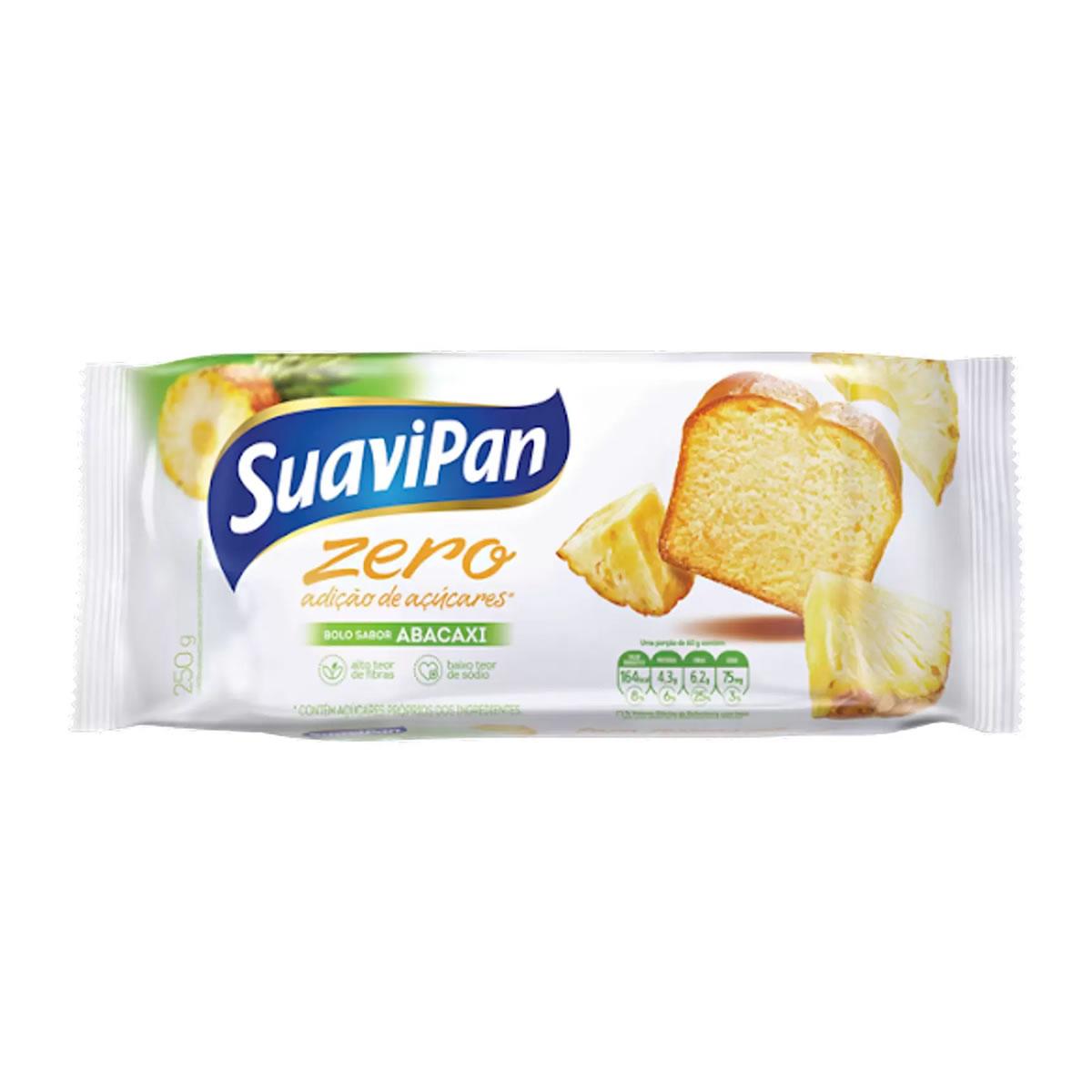 Bolo Zero Adição de Açúcares Sabor Abacaxi 250g - Suavipan