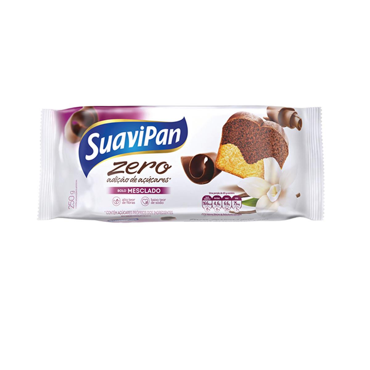 Bolo Zero Adição de Açúcares Sabor Mesclado 250g - Suavipan