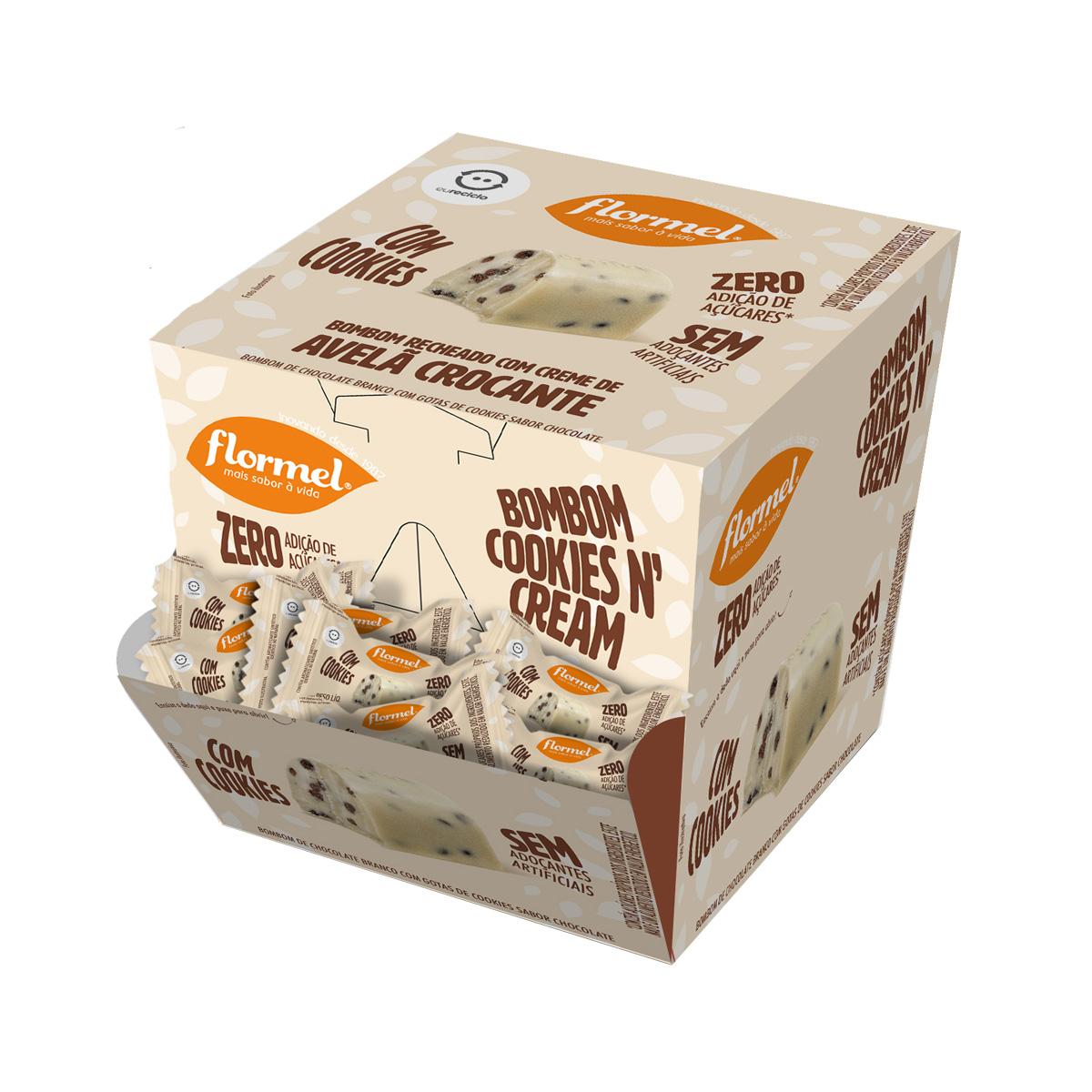 Bombom com Cookies N'Cream Zero Display com 18 un. de 15g - Flormel