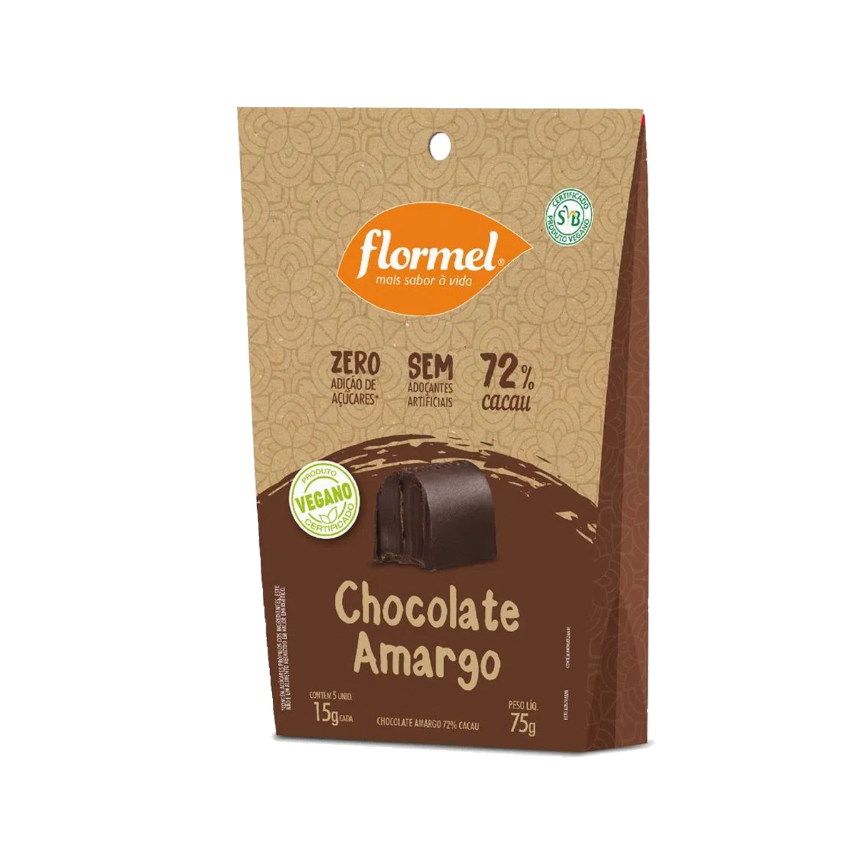Bombom  de Chocolate Amargo Zero 75g - Flormel