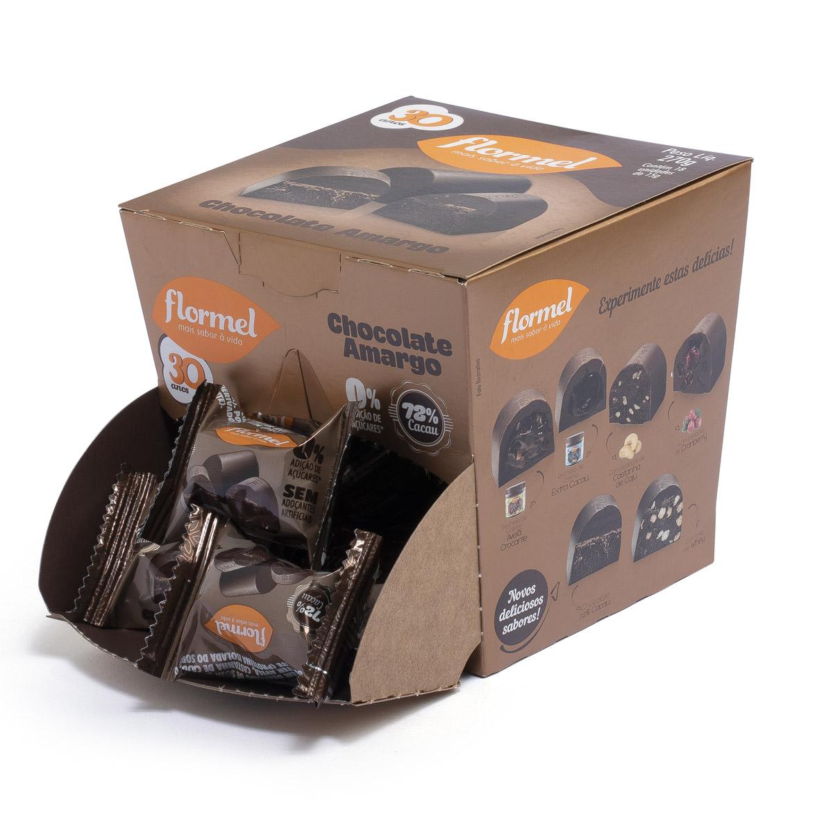 Bombom de Chocolate Amargo Zero Display com 18 un. de 15g - Flormel