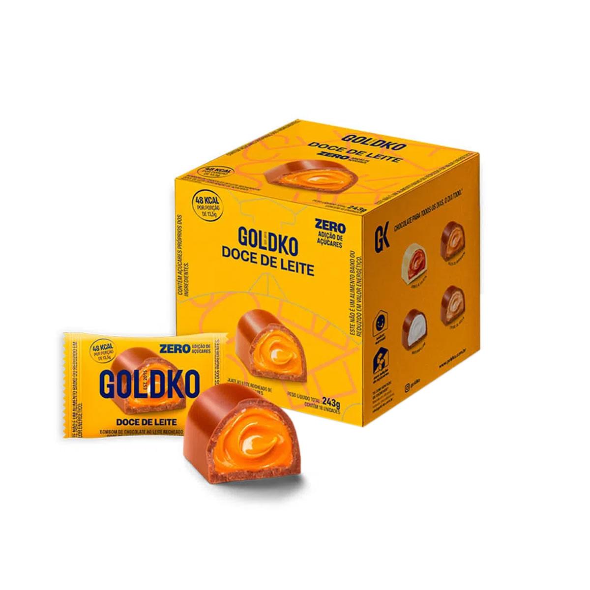 Bombom de Chocolate ao Leite com Doce de Leite Zero Display com 18 un. de 13,5g - Gold & Ko