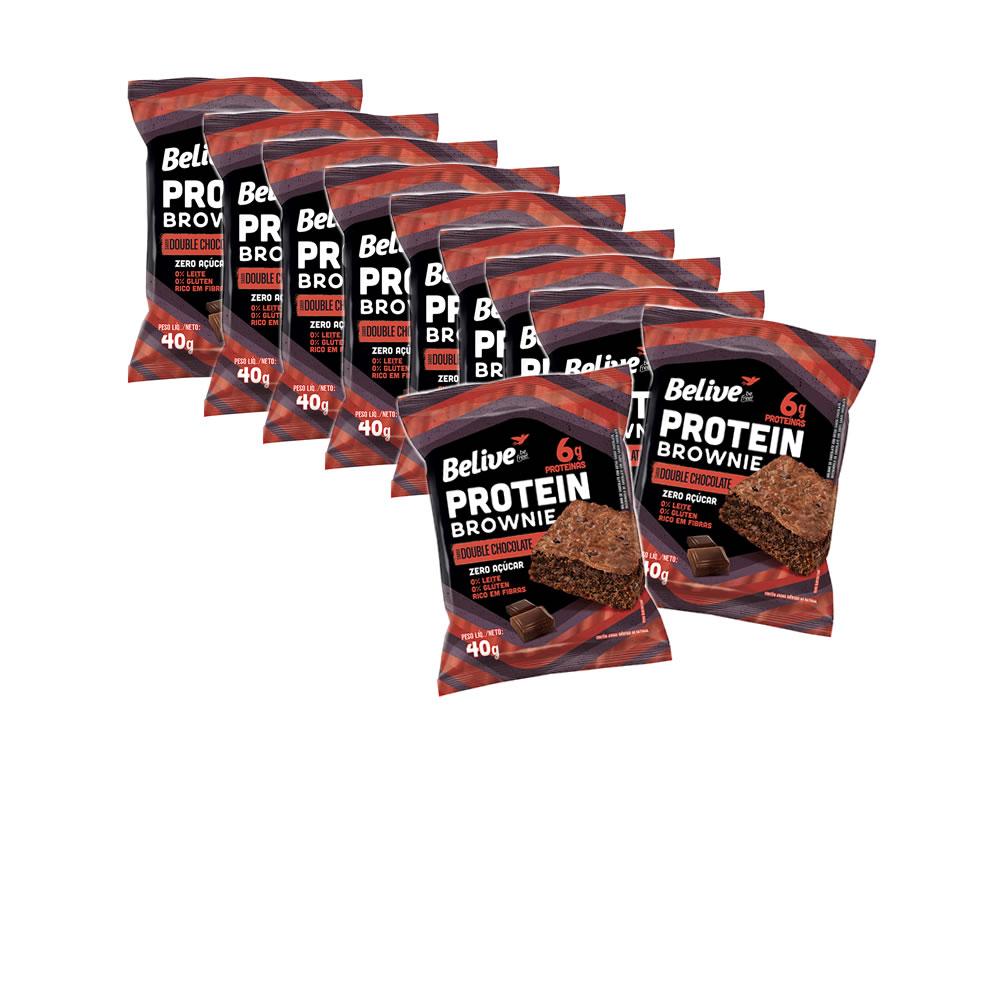 Brownie Protein Sem Glúten Zero Açúcar  Double Chocolate  com 10 unidades de 40g - Belive