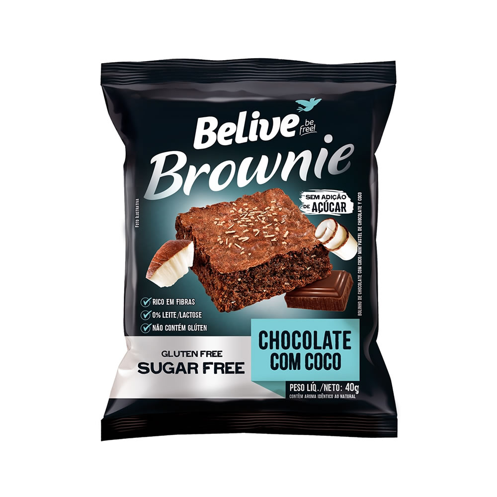 Brownie Sem Glúten e Sem Açucar Chocolate com Coco 40g - Belive