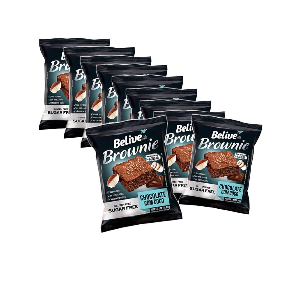 Brownie Sem Glúten e Sem Açucar Chocolate com Coco com 10 unidades de 40g - Belive