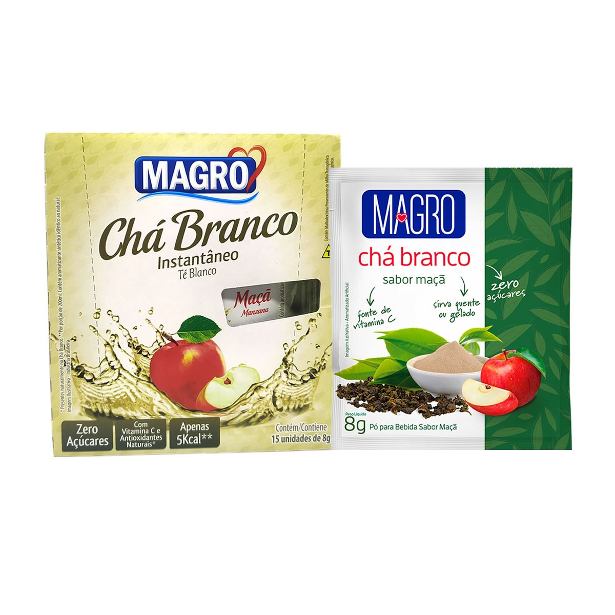 Chá Branco Diet Instantâneo Sabor Maça Display Com 15un de 8g - Magro