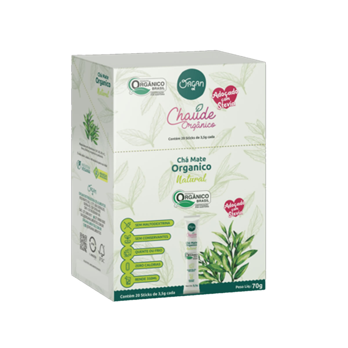 Chá Chaude Orgânico Sabor Natural Display 20un de 3,5g  - Organ