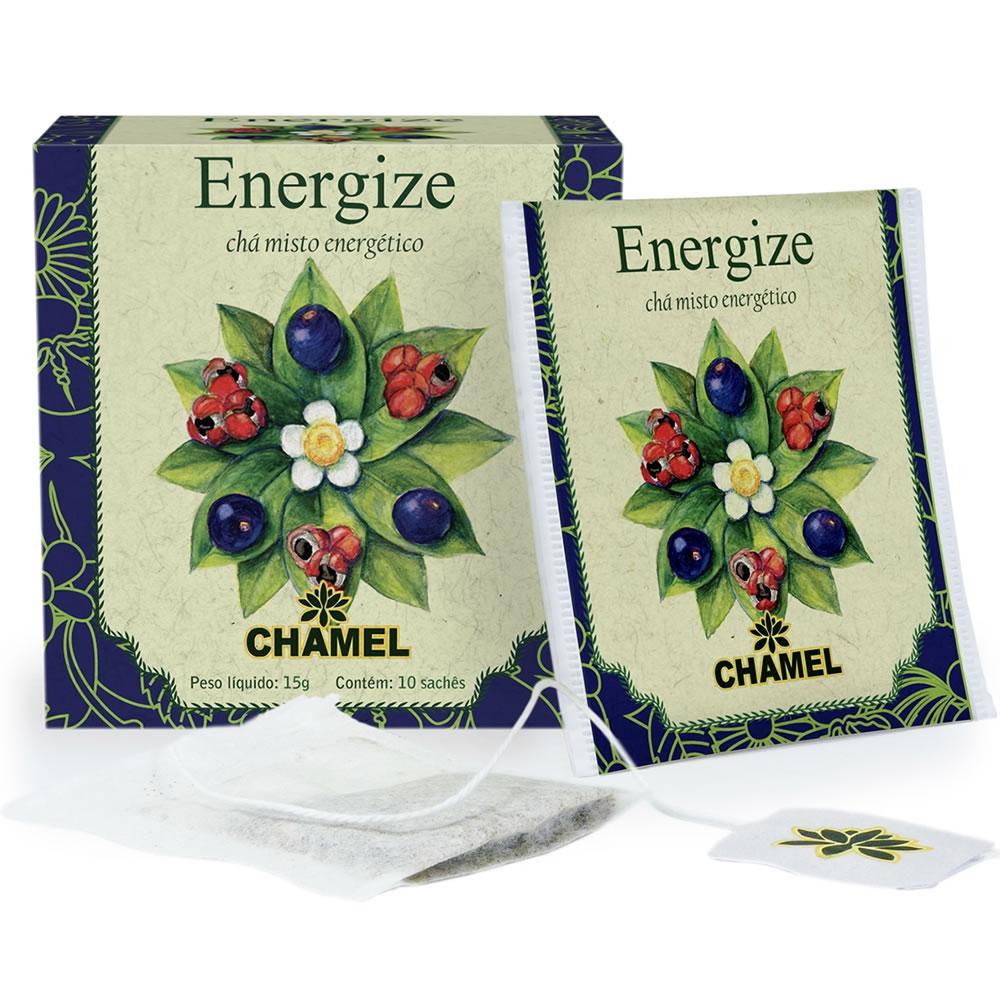 Chá Energize ( Chá Preto, Guaraná e Açaí) com 10 Sachês - Chamel