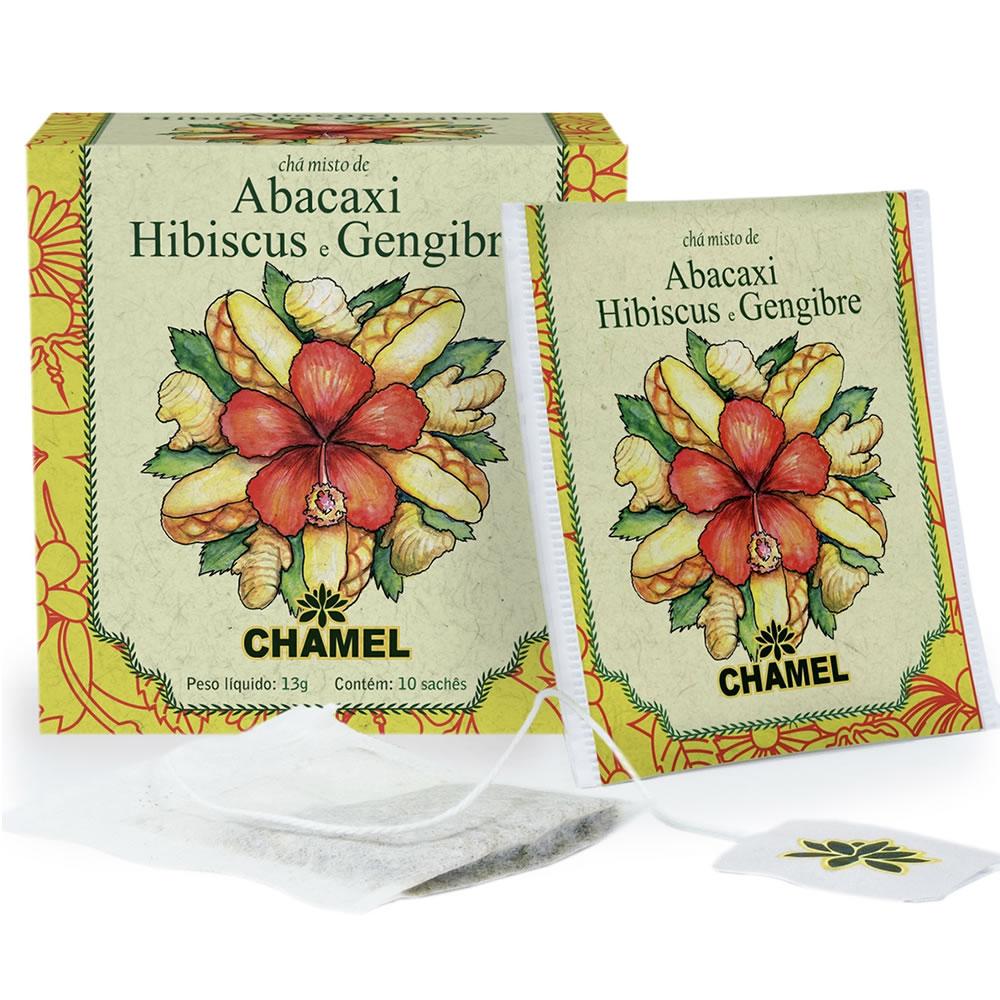 Chá Misto de Abacaxi, Hibiscus e Gengibre com 10 Sachês - Chamel