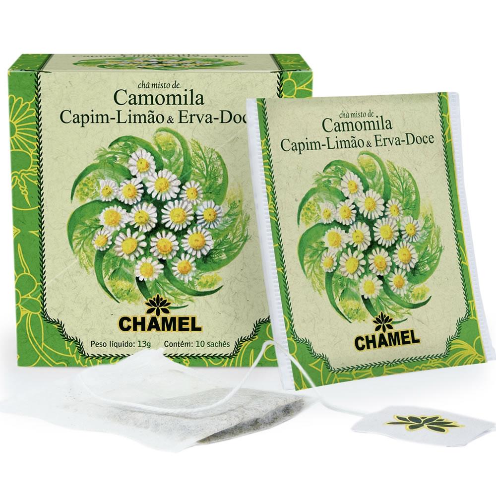 Chá Misto de Camomila, Capim Limão e Erva Doce com 10 Sachês - Chamel