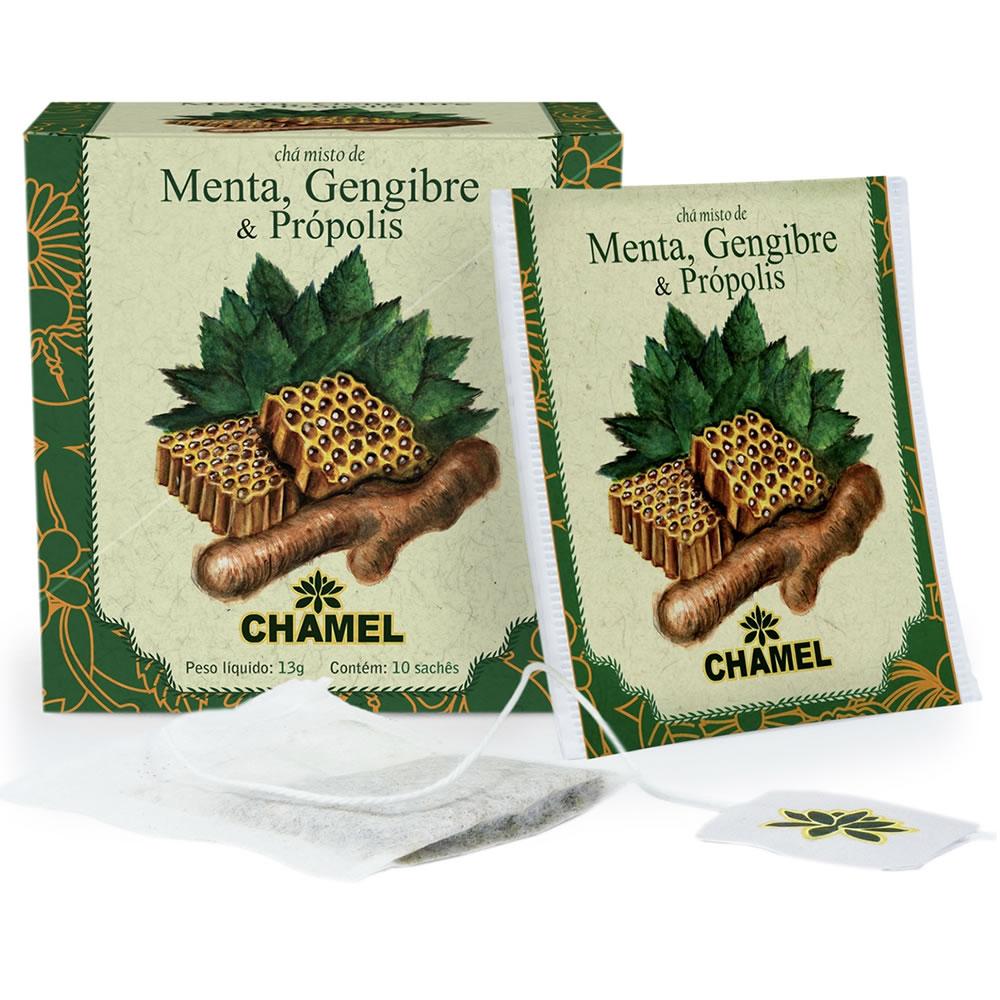 Chá Misto de Menta, Gengibre e Própolis com 10 Sachês - Chamel