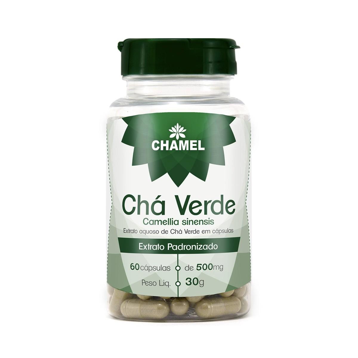 Chá Verde 500mg 60 Cápsulas - Chamel