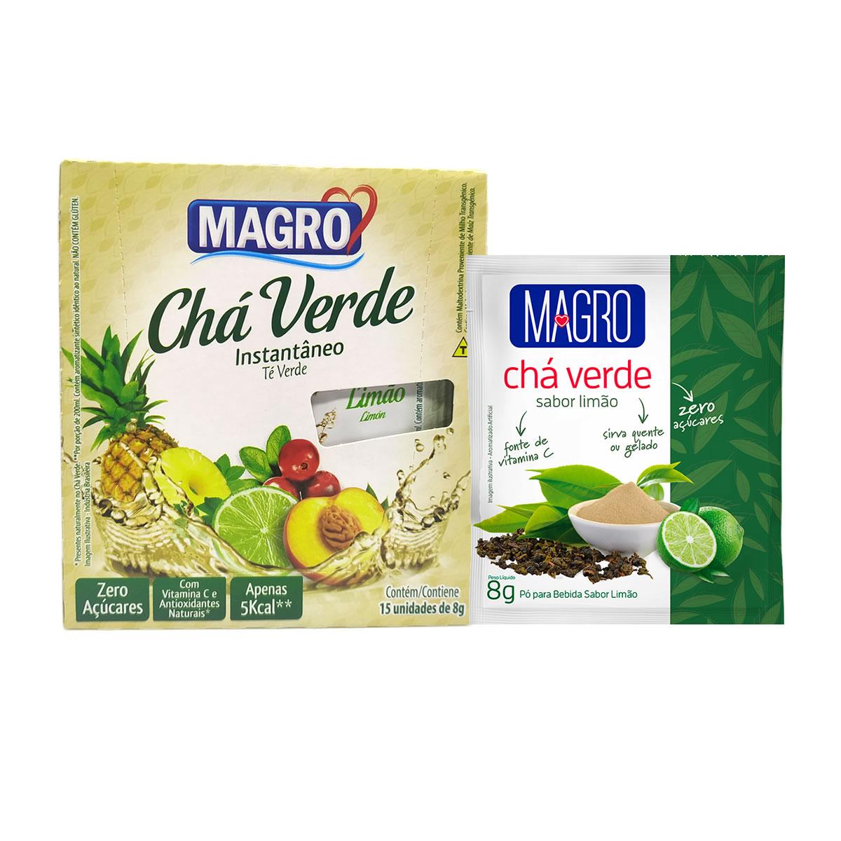 Chá Verde Diet Instantâneo Sabor Limão Display com 15 un de 8g - Magro