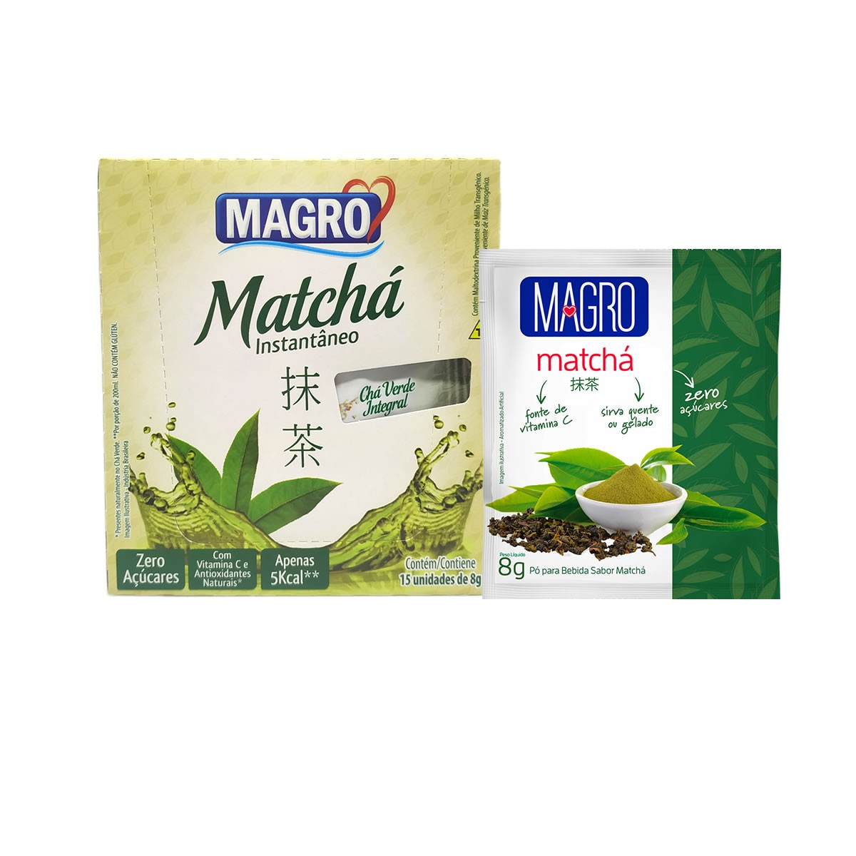 Chá Verde Integral Diet Instantâneo Matchá Display com 15un de 8g - Magro
