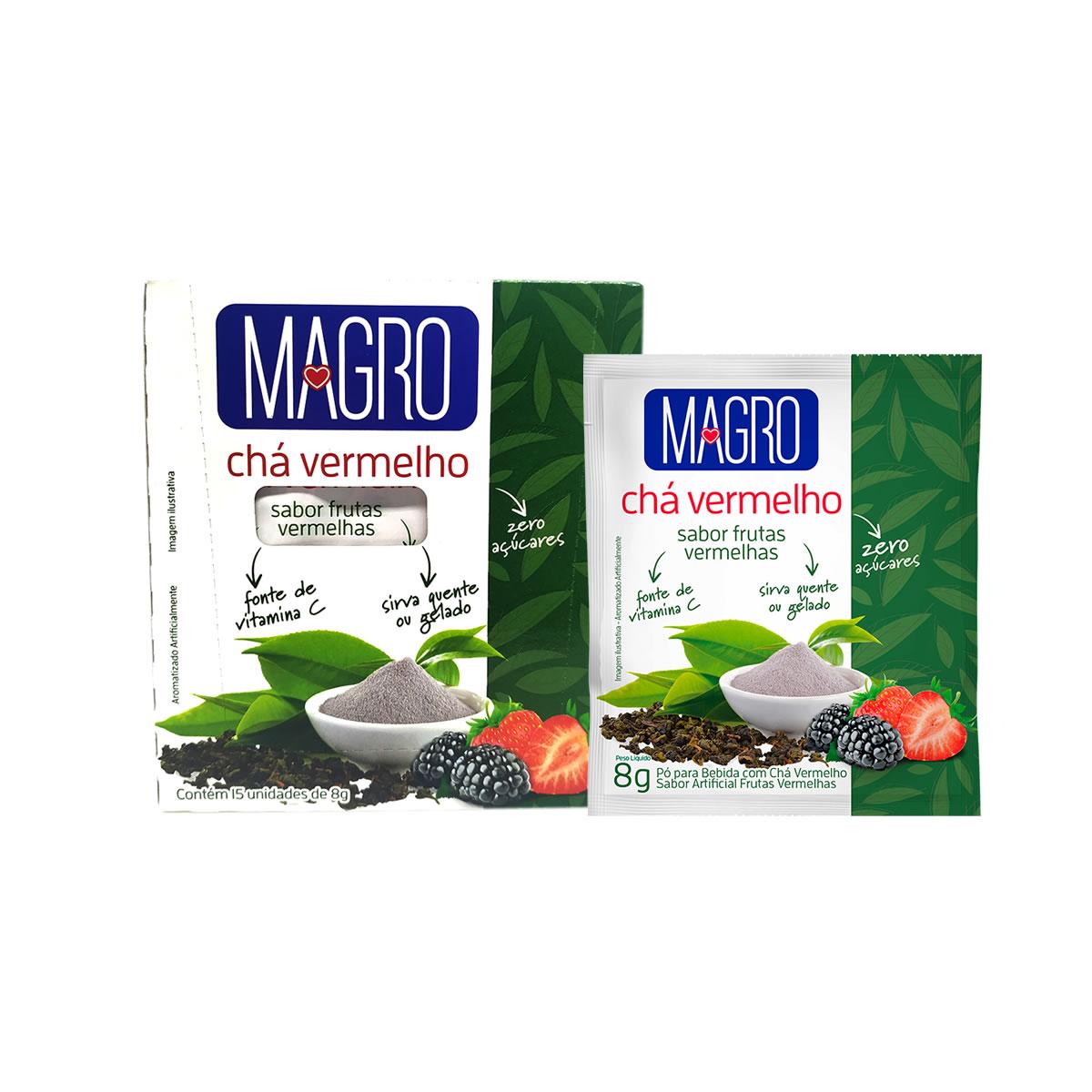 Chá Vermelho Diet Instantâneo Sabor Frutas Vermelhas Display com 15un de 8g - Magro